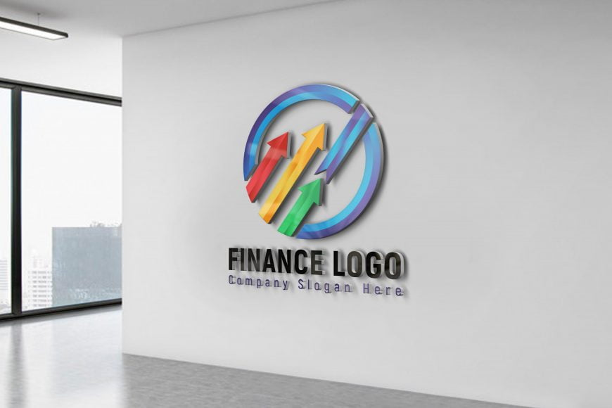 Finance-Company-Logo-Design-on-office-wall-scaled