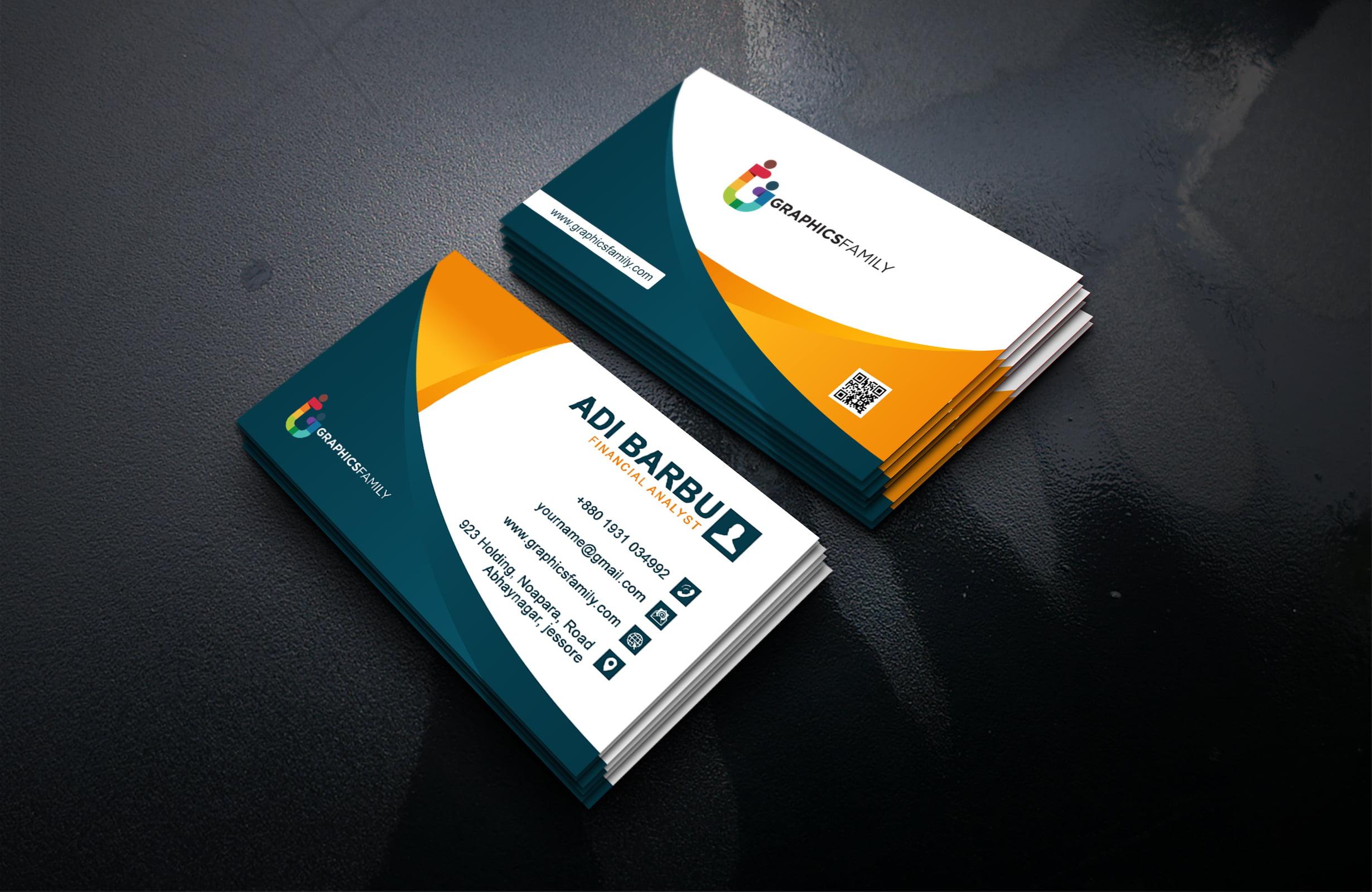 financial analyst business card design template psd