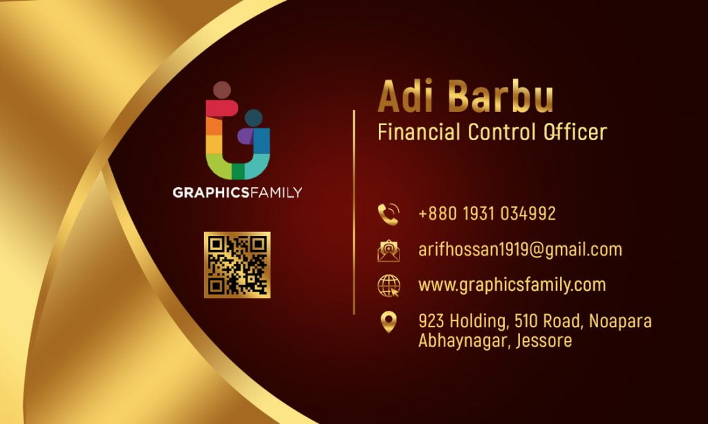 Financial Control Officer Free luxury golden business card design Back Part