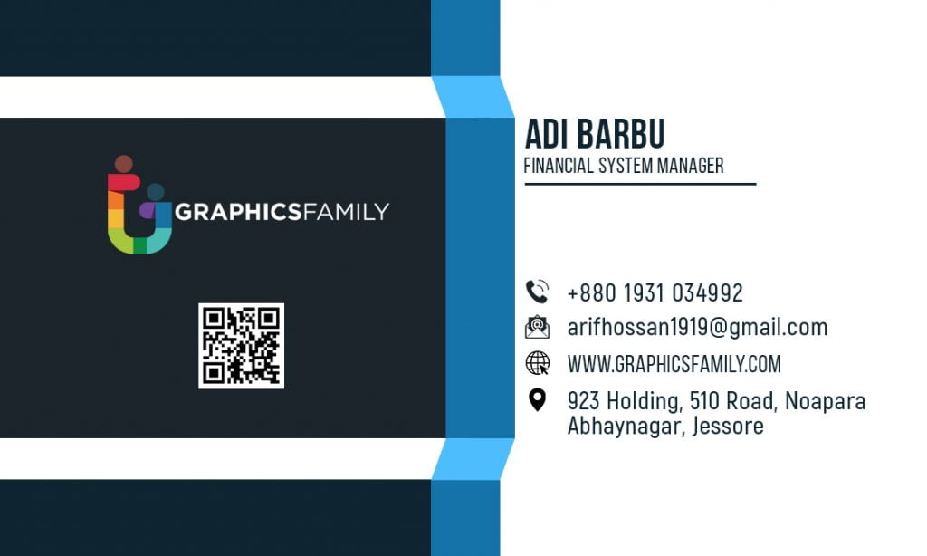 Financial System Manager Free Business Card Design Back part