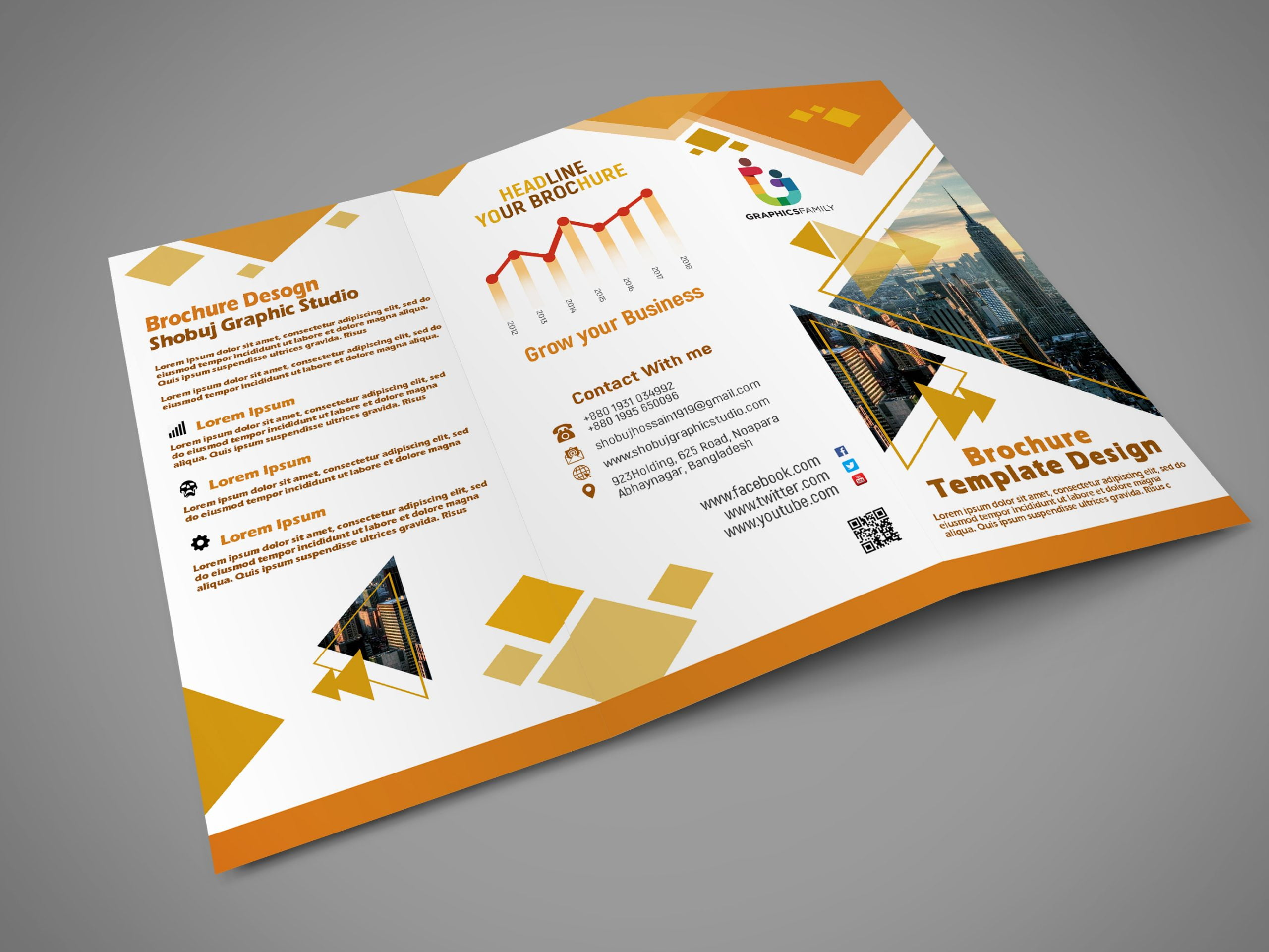 Flat Tri fold Brochure Template