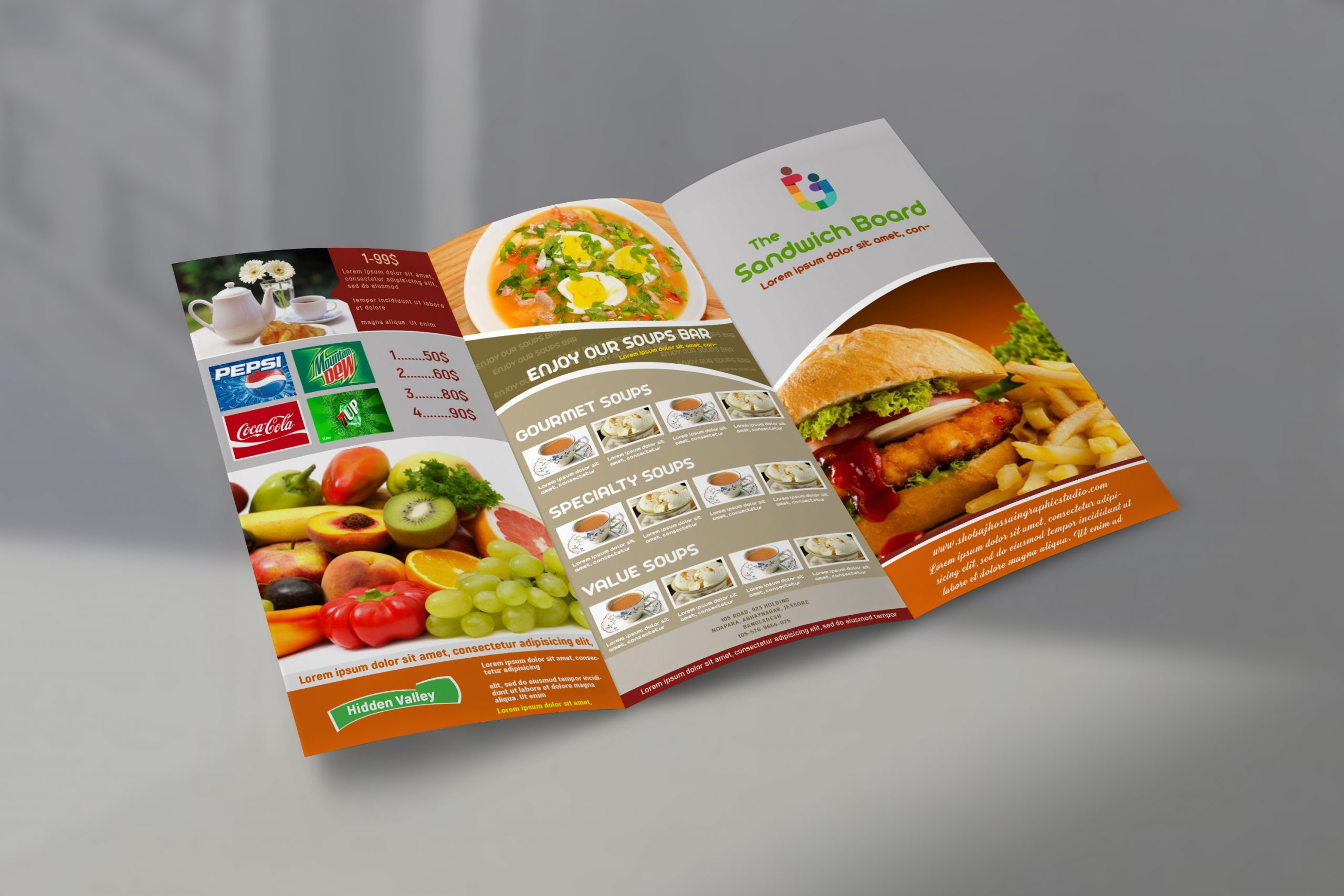 Food menu trifold Brochure template