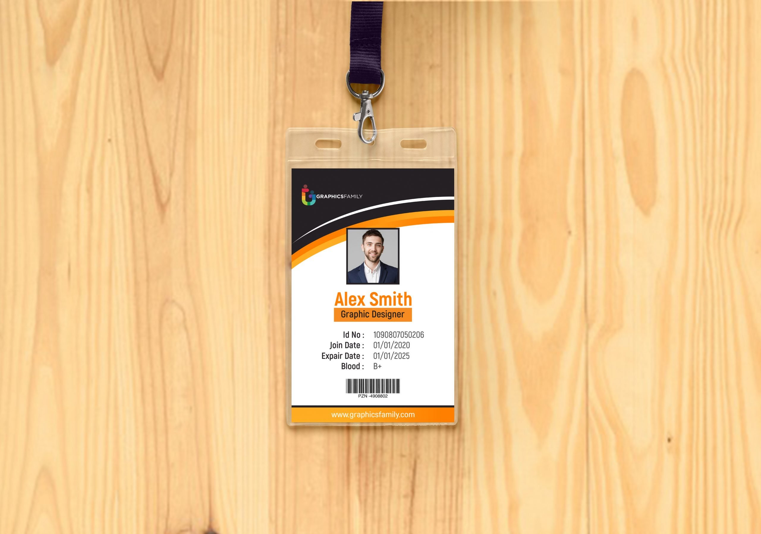 Free online ID card Template on wood