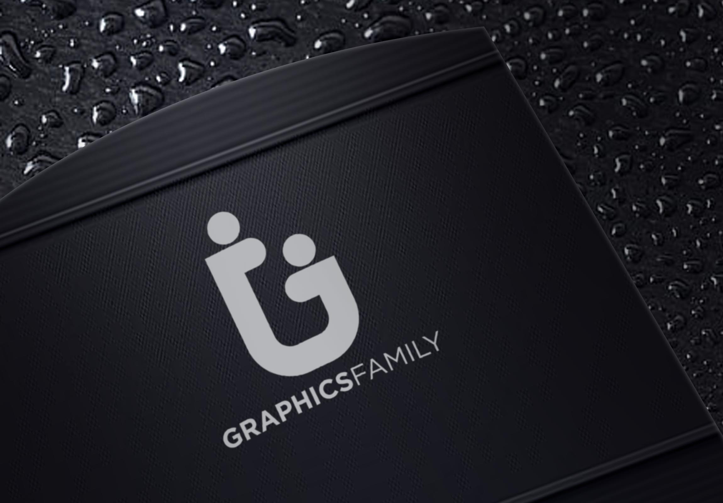 Graphics Family Logo on a Black Modern mockup