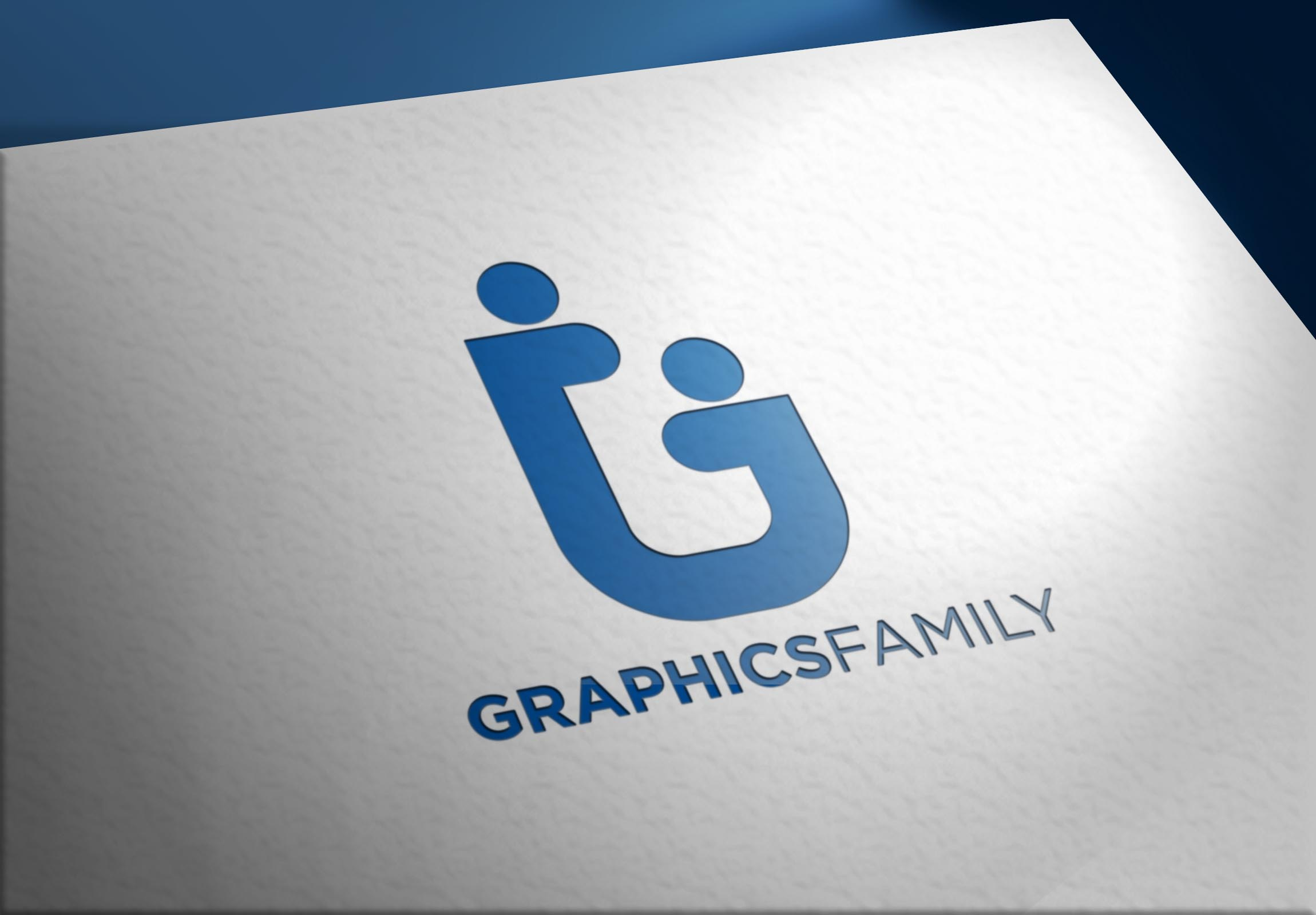Graphics Family logo on Realistic Paper Logo mockups