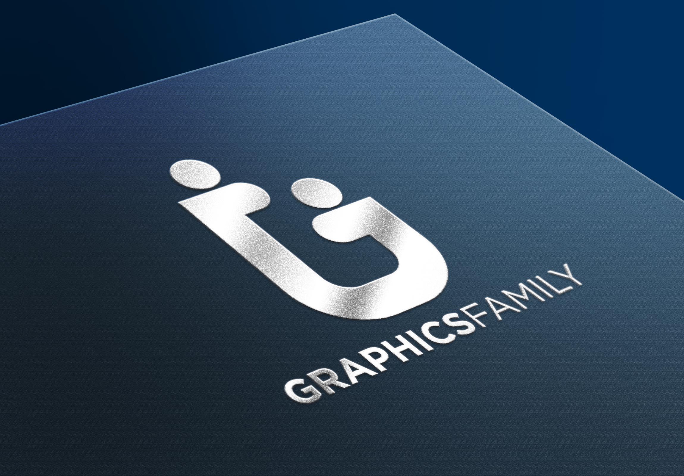 Graphics Family logo on Silver gloss mockup