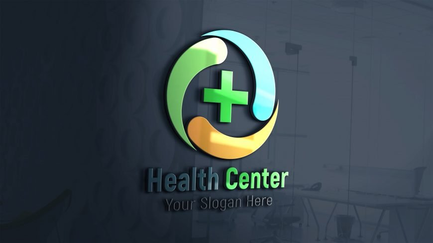 Health-care-medical-logo-Design-3d-glass-window-scaled