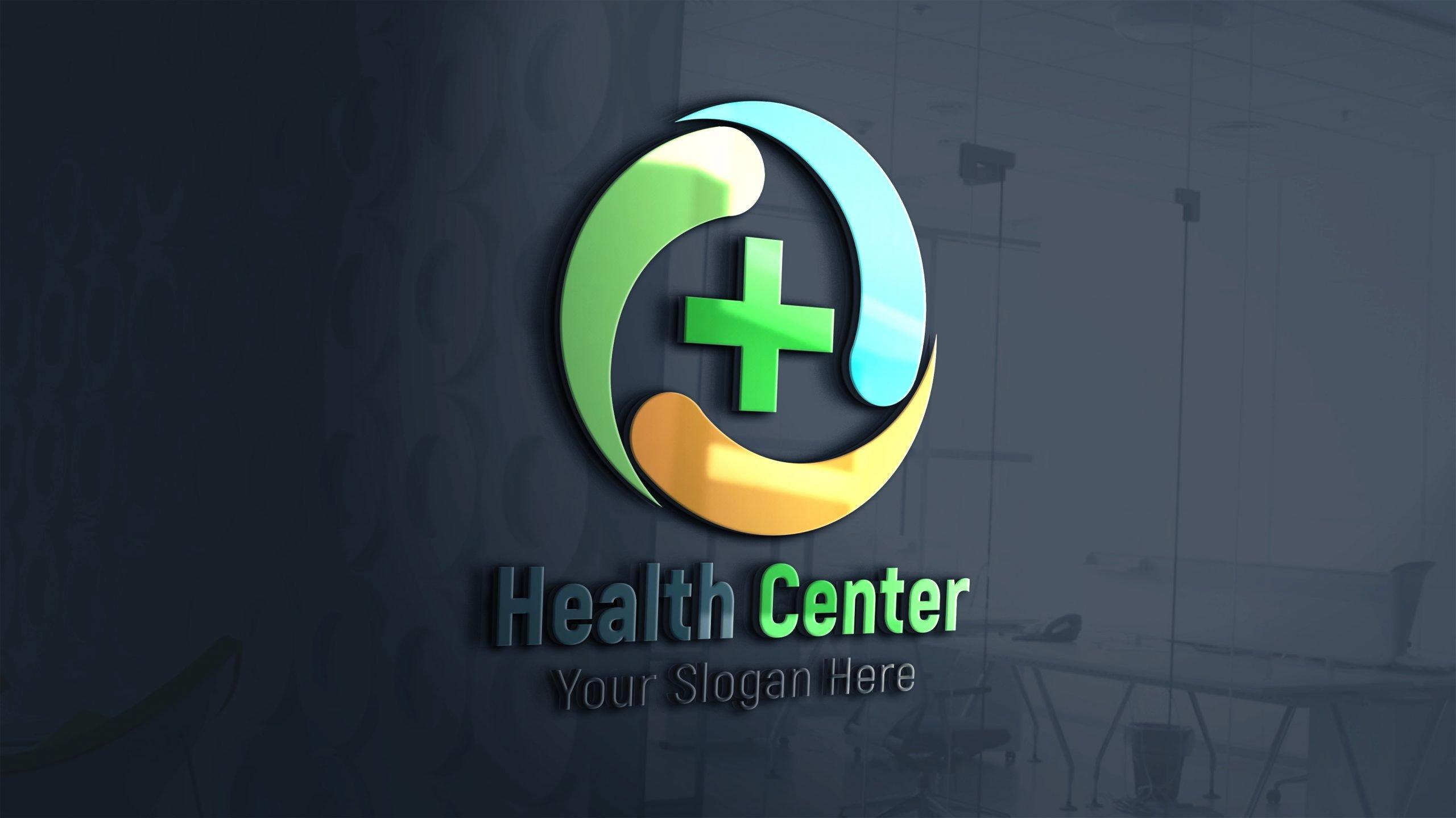 Health care medical logo Design 3d glass window