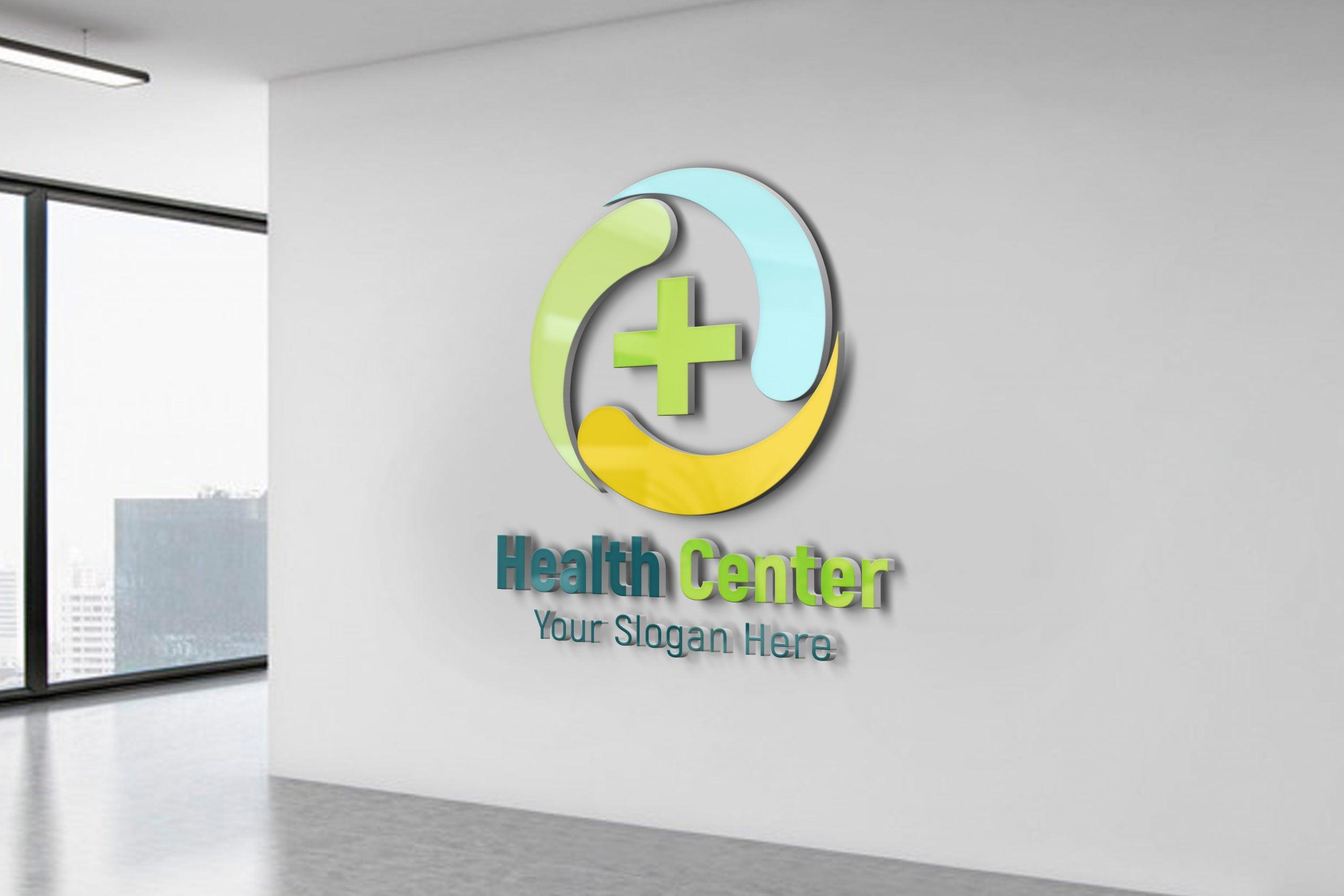 Health care medical logo Design 3d office wall