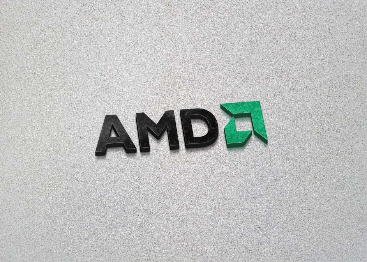 AMD on 3d wall mockup