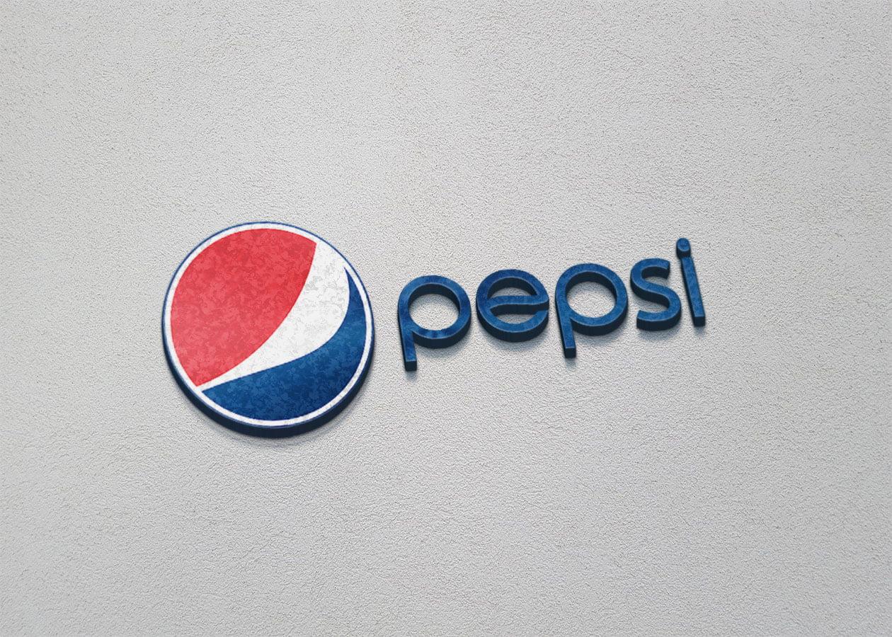 Pepsi Logo on 3d wall mockup