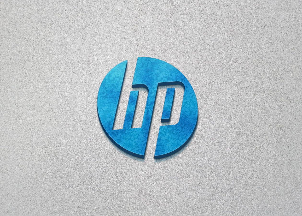 HP Logo on 3d wall mockup