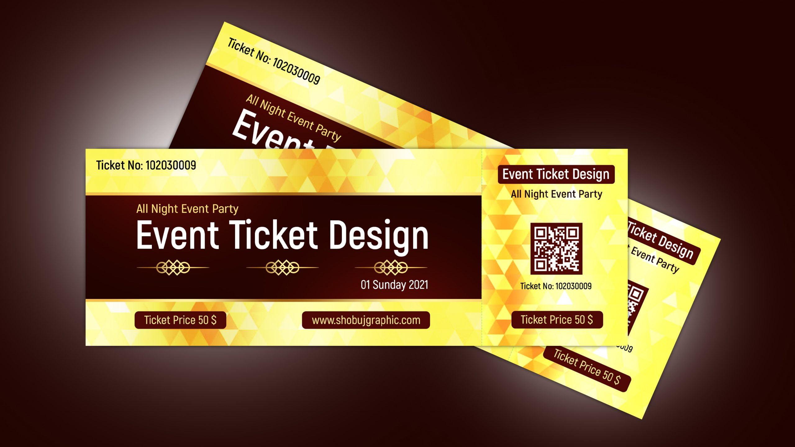 Luxury Golden Event Ticket Design - Photoshop psd