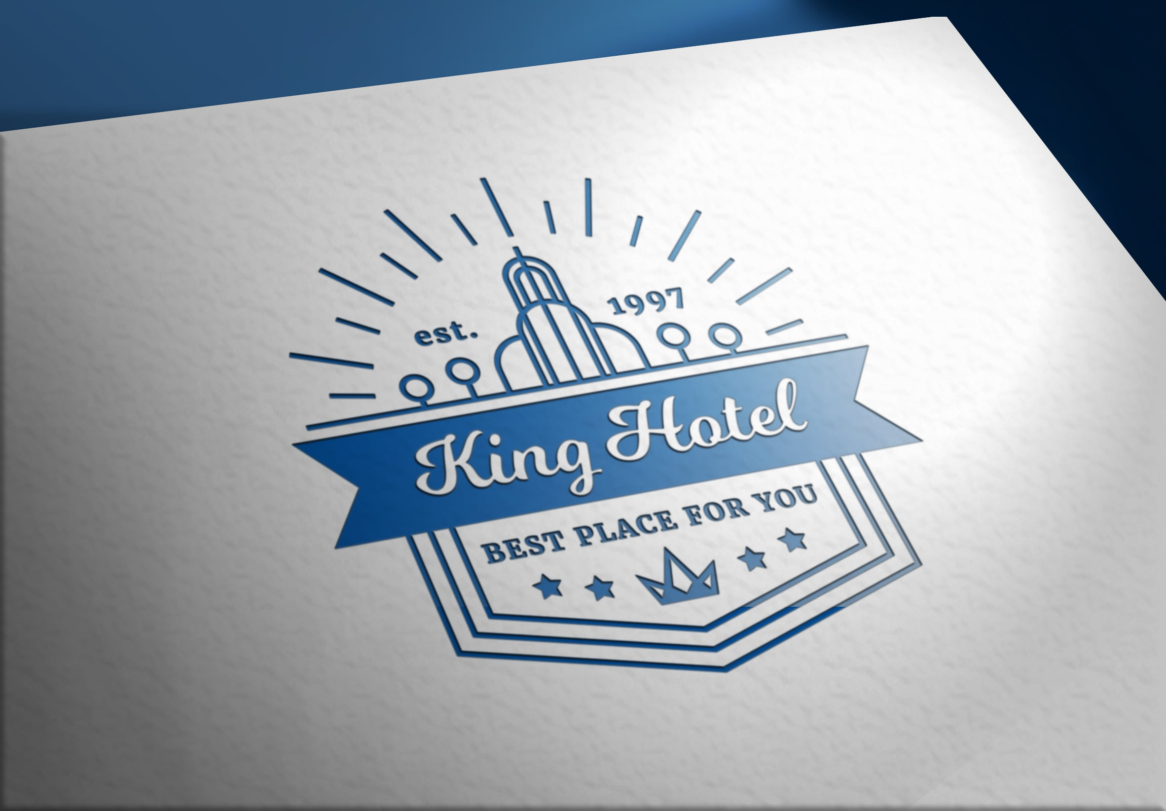 Luxury Hotel Logo on Realistic Paper curved Mockups