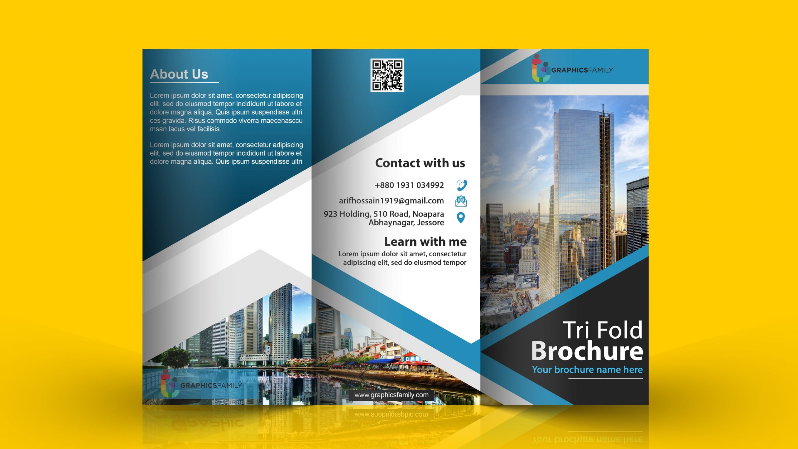 Modern Brochure Template With Flat And Elegant Concept