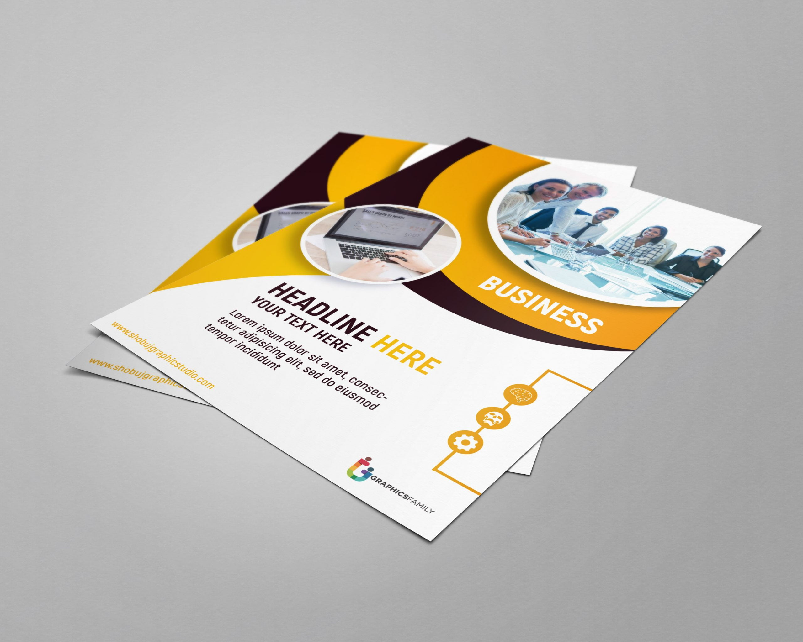 Modern Business Flyer with Flat Style