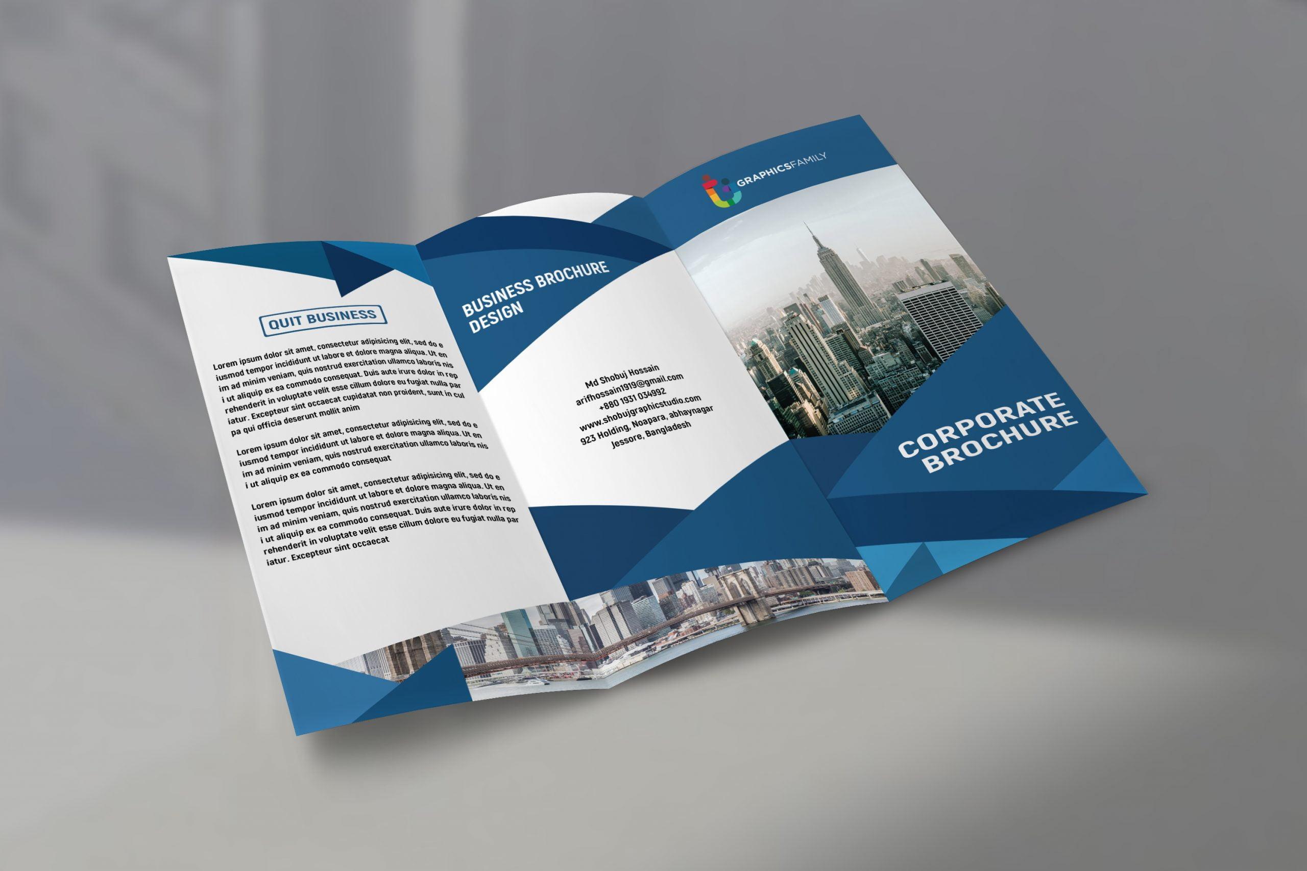 Modern Corporate tri fold brochure template