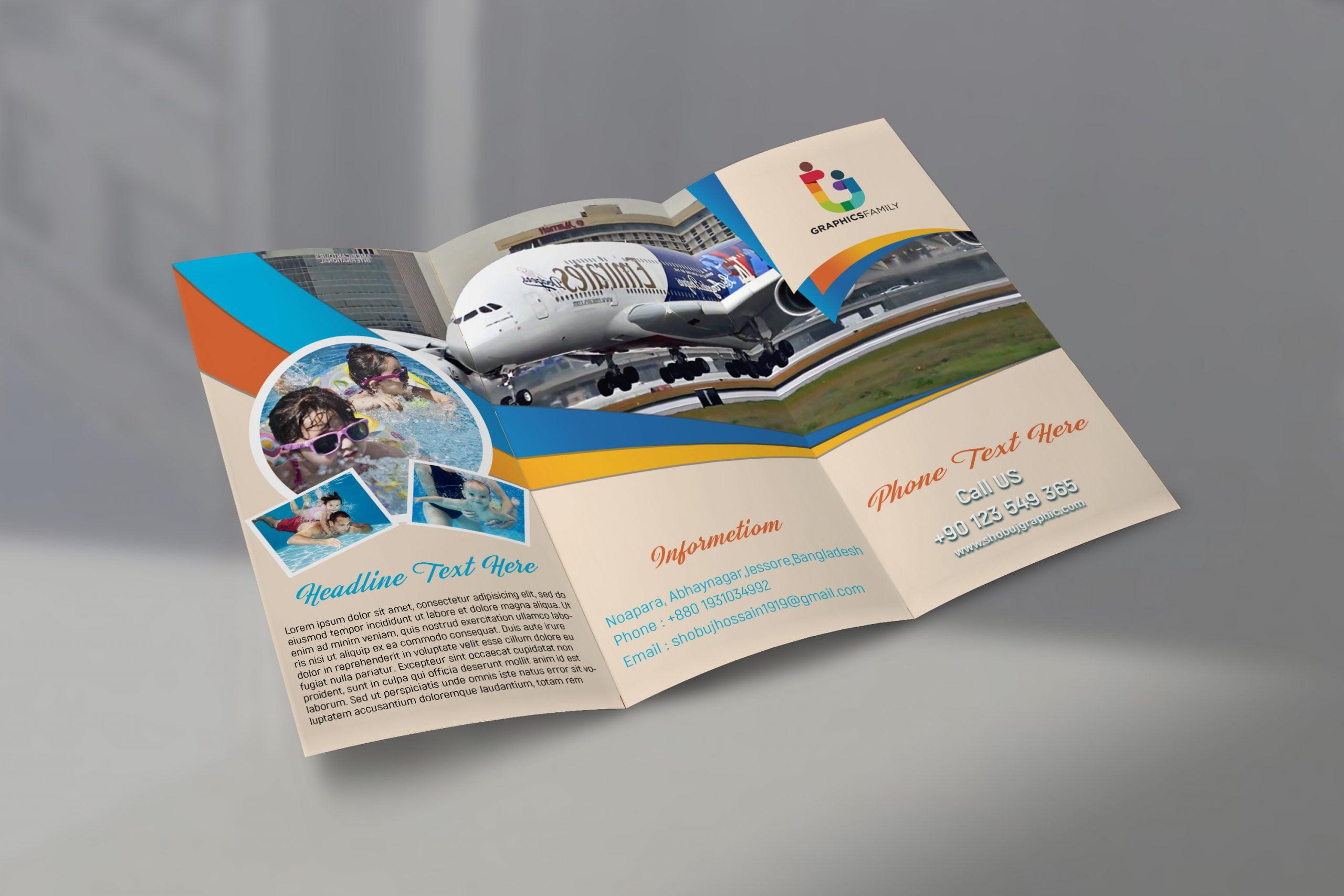 Modern travel tri fold brochure psd