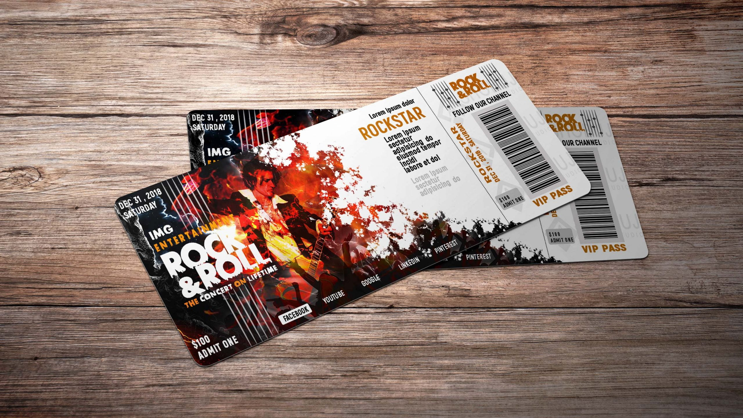 ROCK N ROLL EVENT TICKET DESIGN