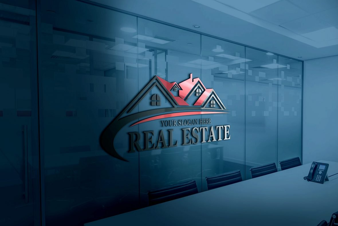 Real-Estate-Logo-Design-on-office-wall-scaled