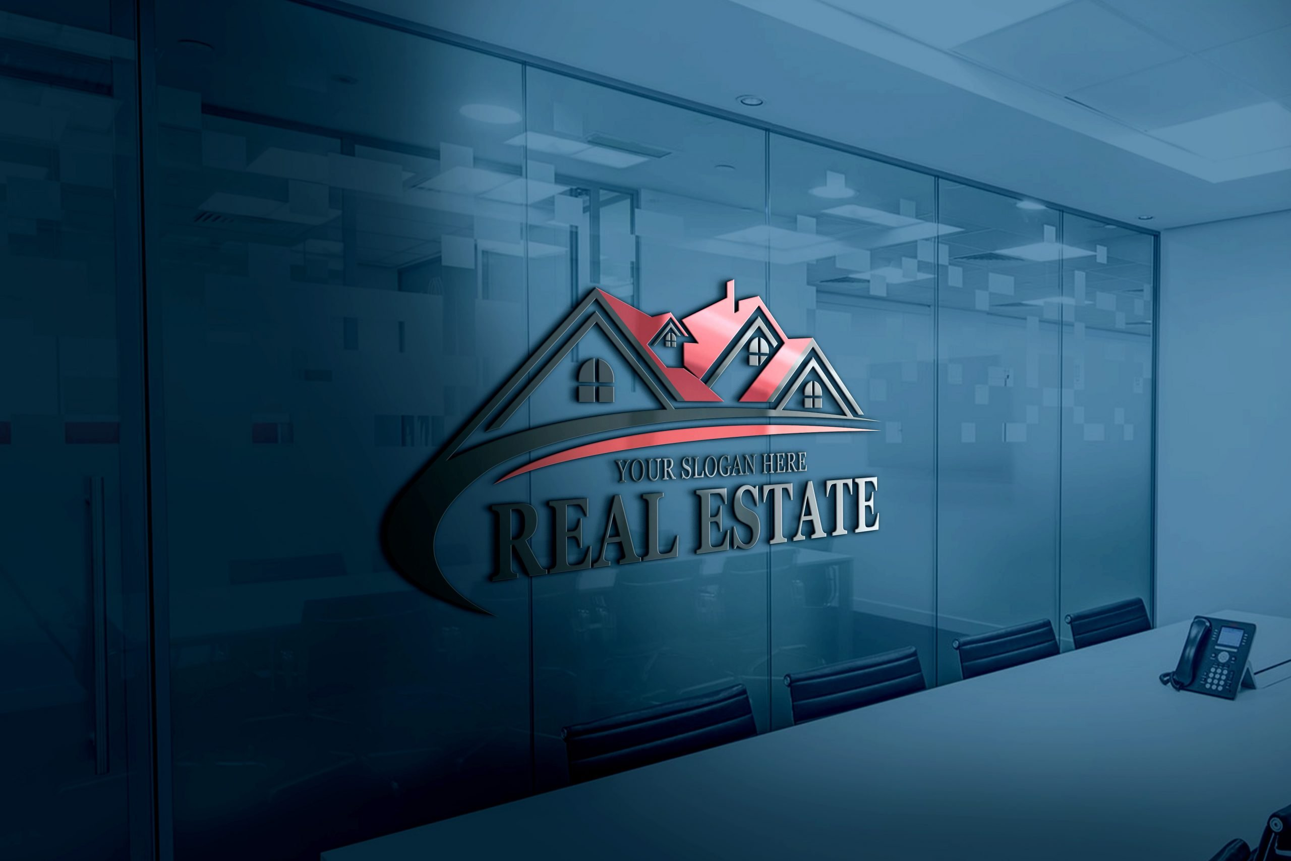 Real Estate Logo Design on office wall