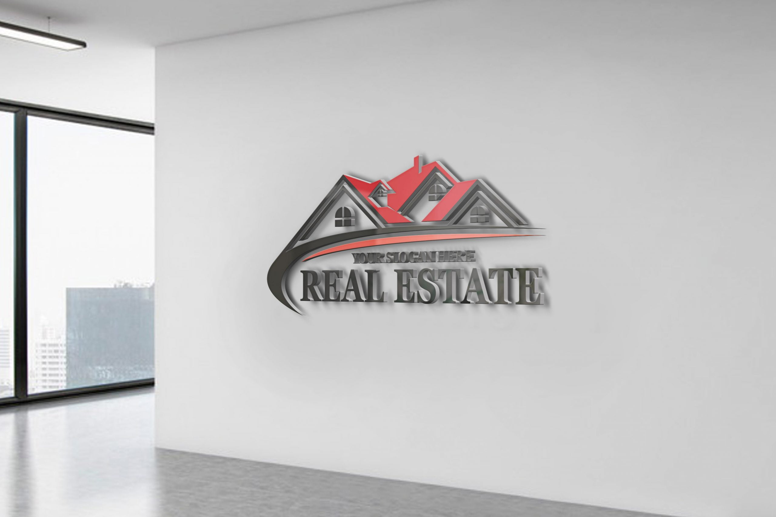 Real Estate Logo Design white office wall