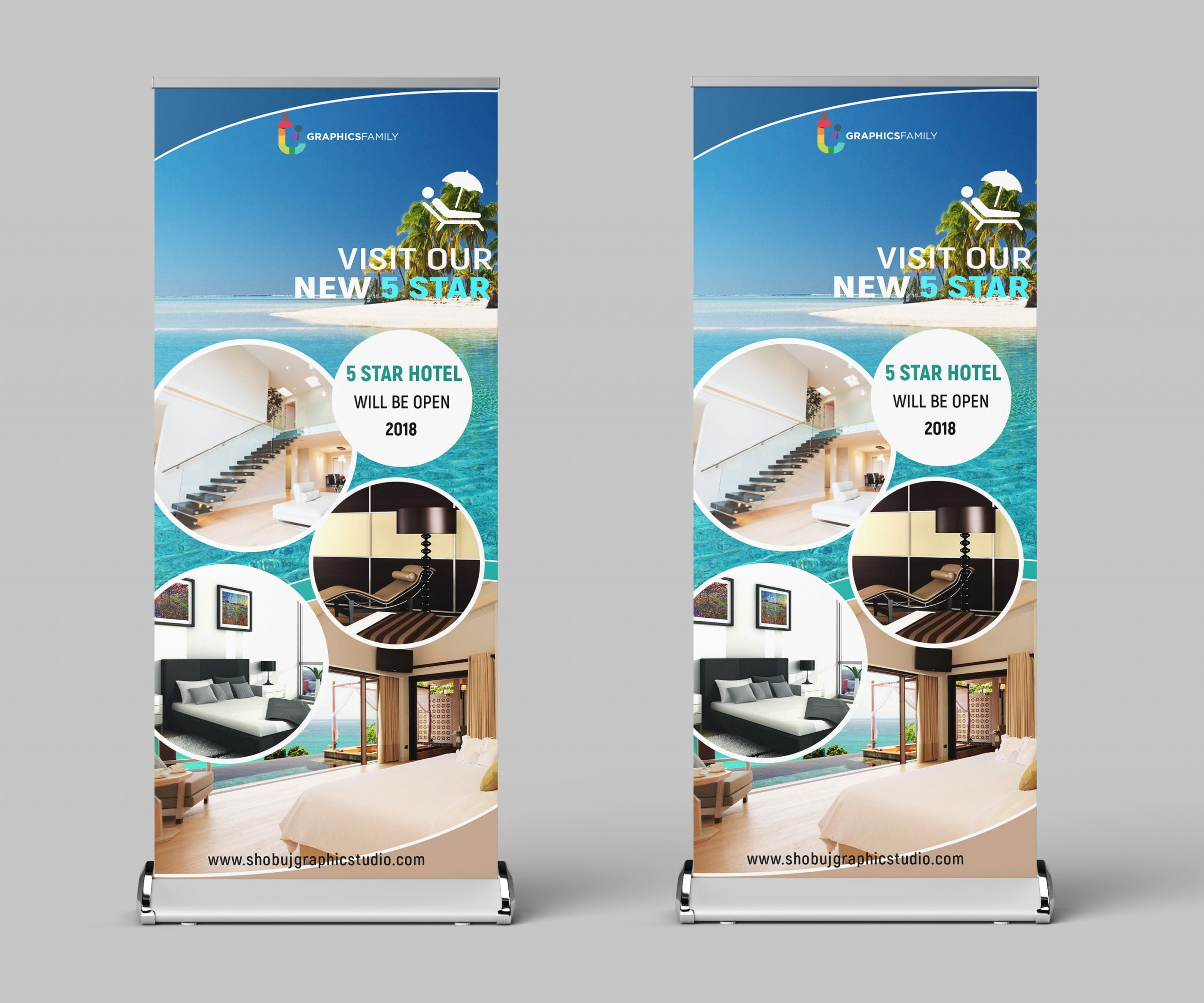 Roll up Banner Design for tourist template