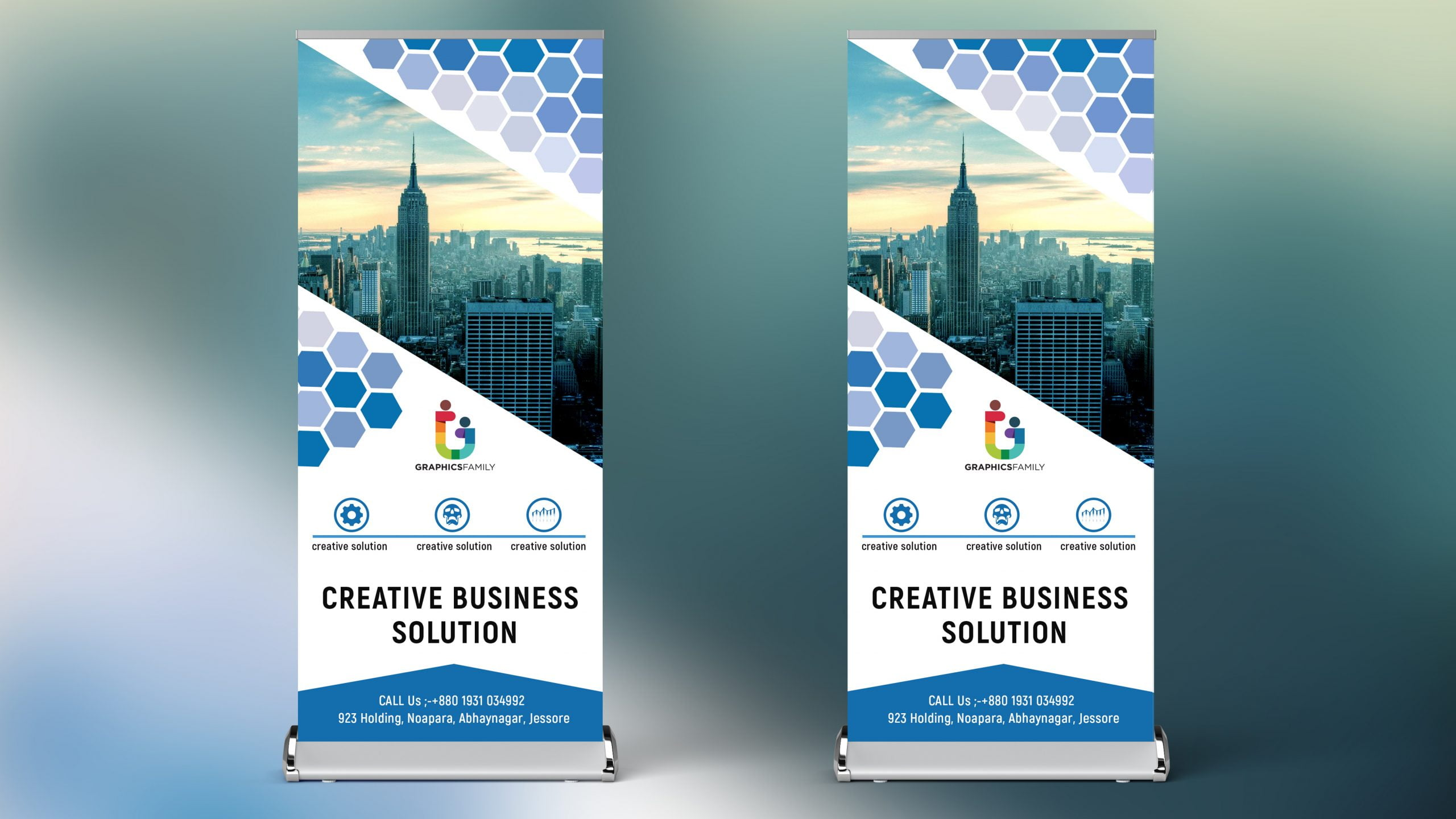 Roll up Banner Design in Polygonal style