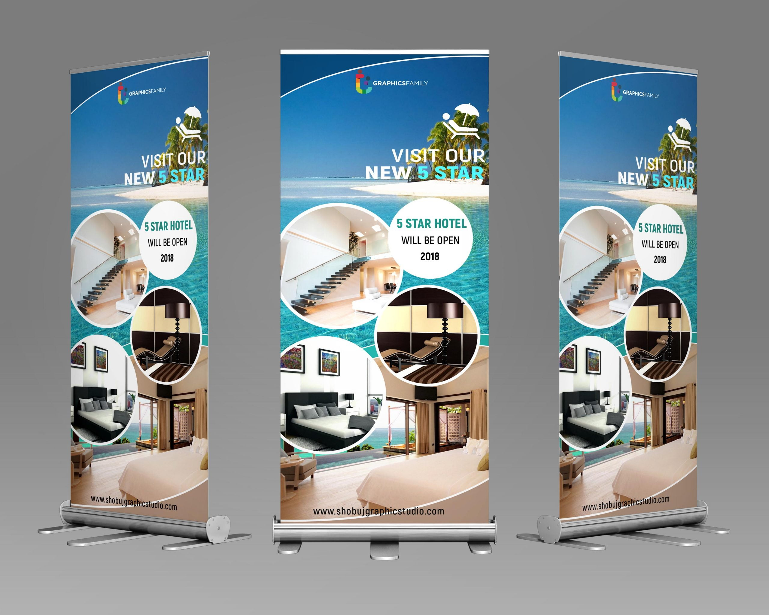 Roll up Banner For Tourist psd