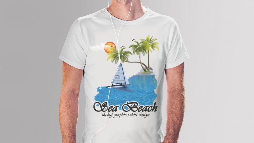 Sea-Beach-T-shirt-Design-template-scaled