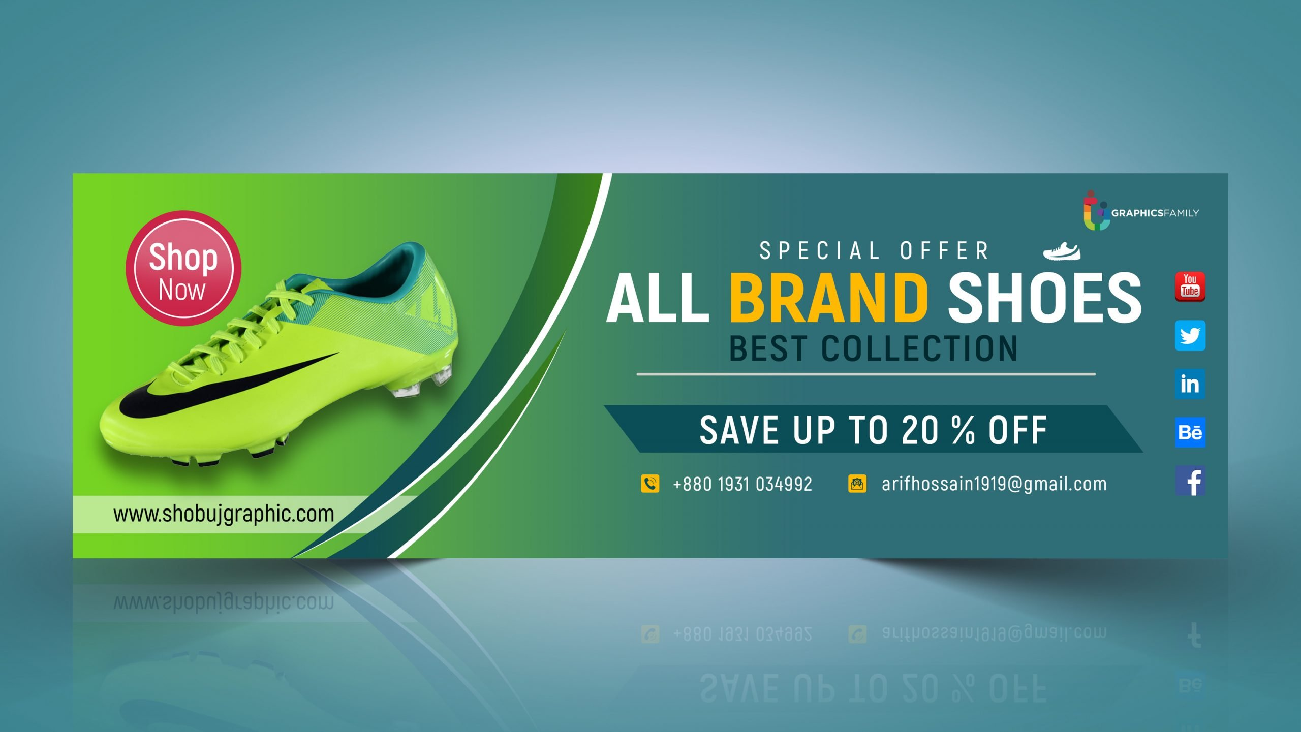 Shoes Advertising Modern Web Banner Design Template Free Psd
