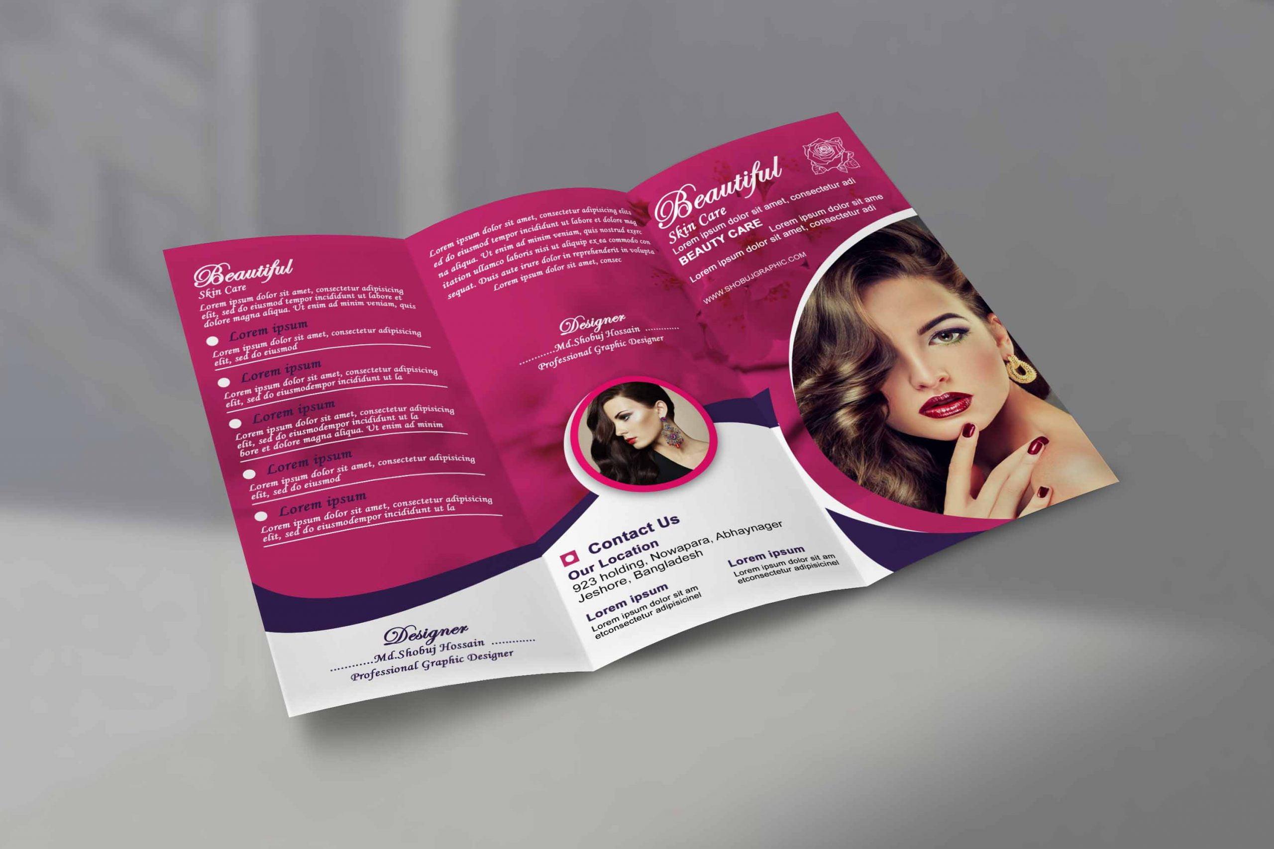 Skin Care Trifold Brochure template