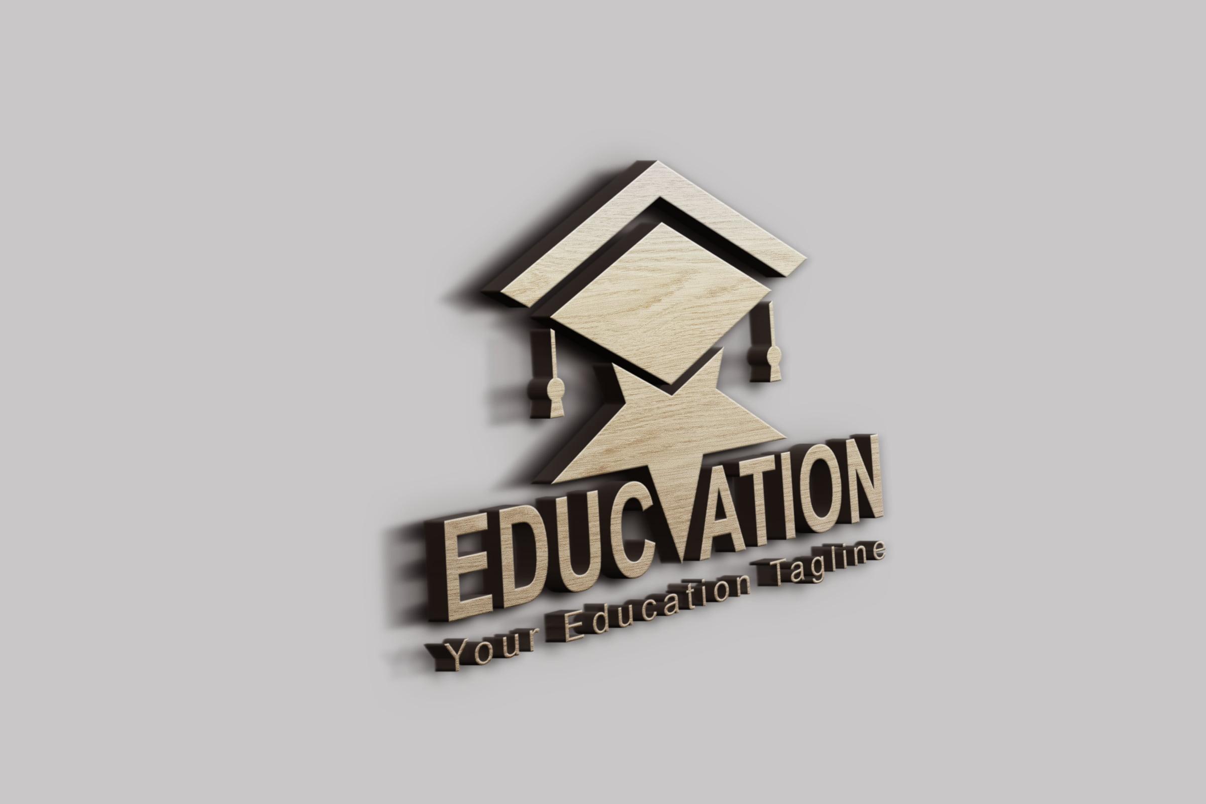 Star education logo design on 3d wall