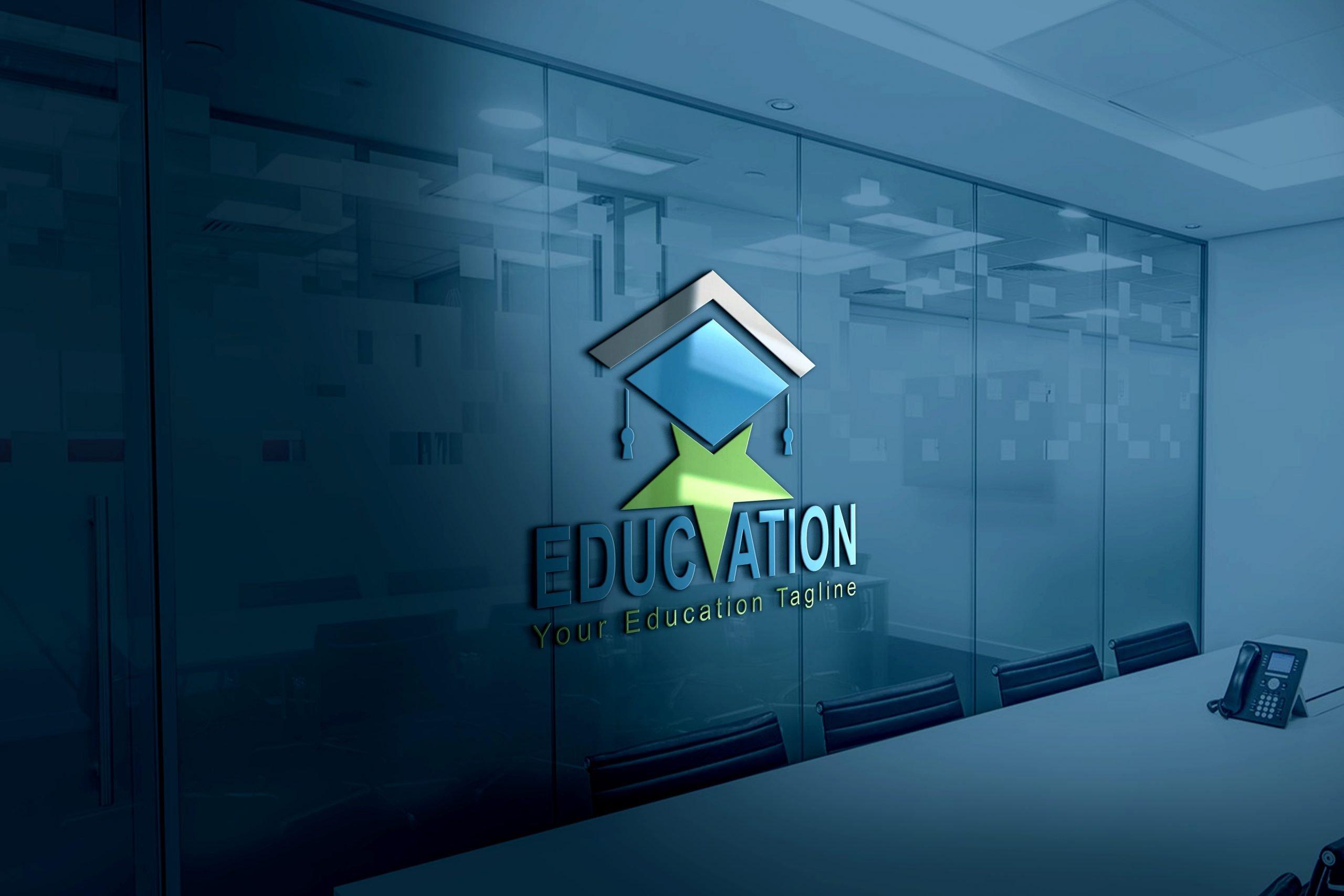 Star education logo design on office wall