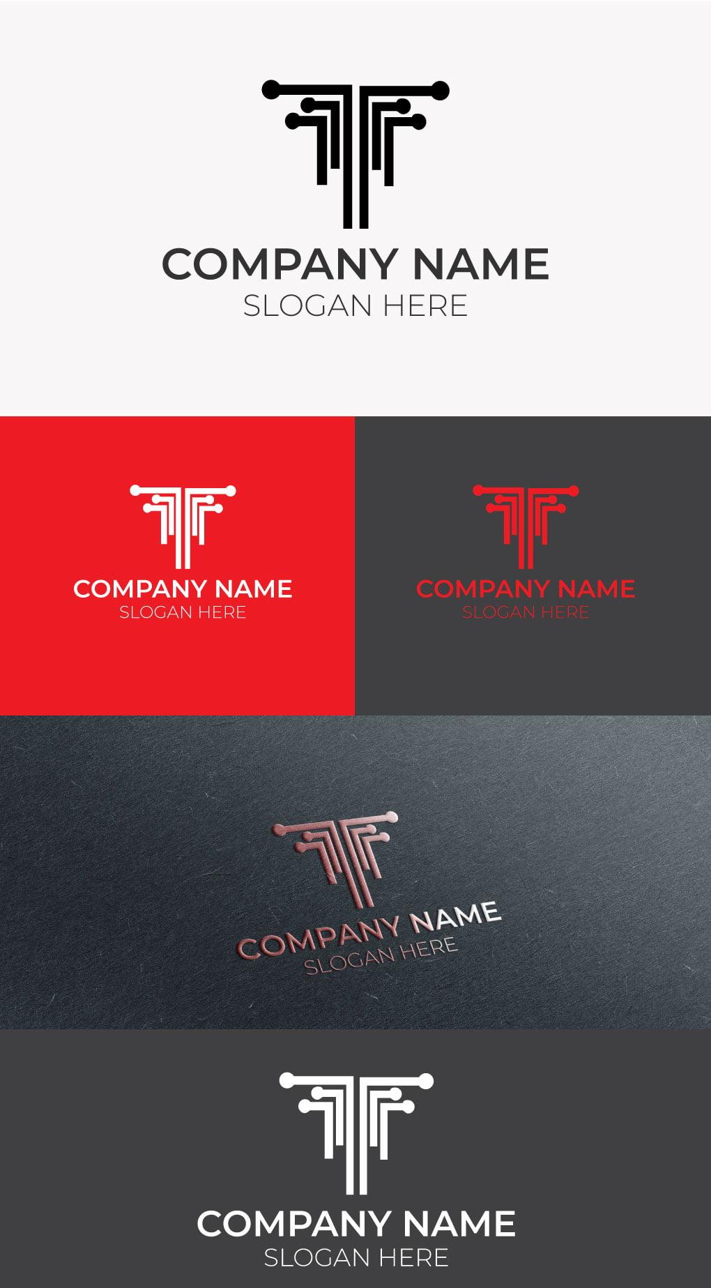 T tech logo template