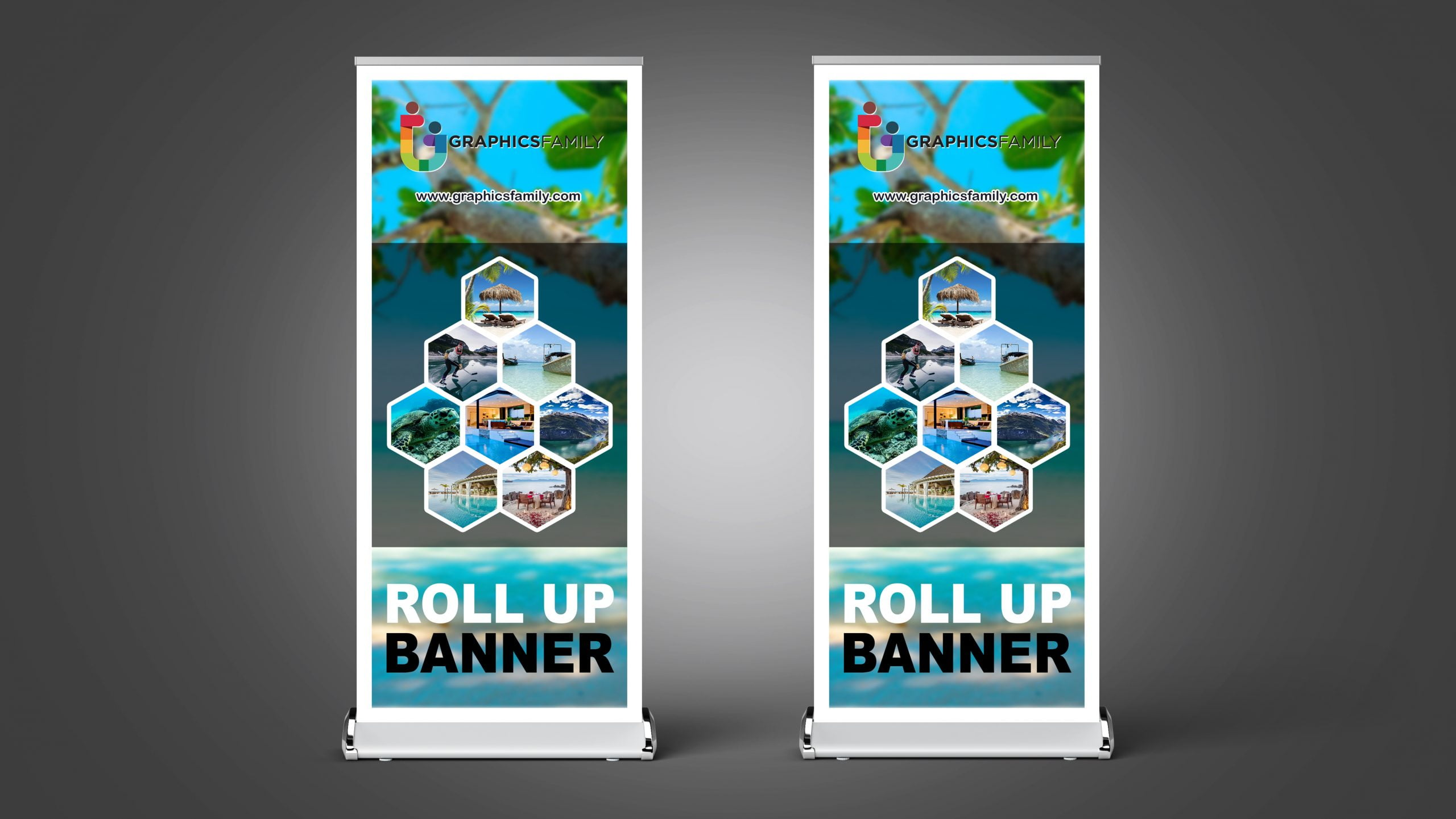 Tourist roll up banner design template