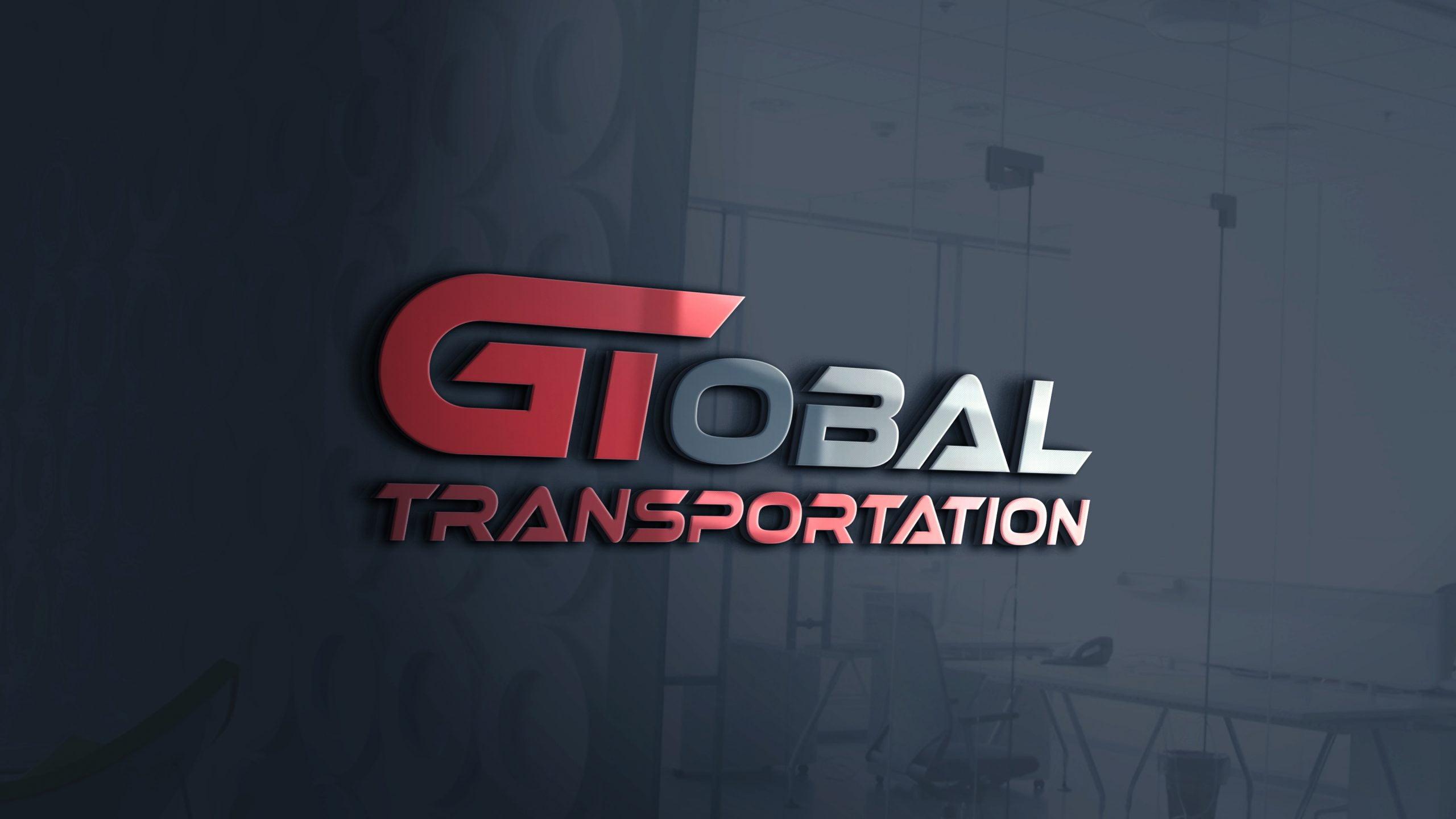 Transportation Logo Design on 3d glass window