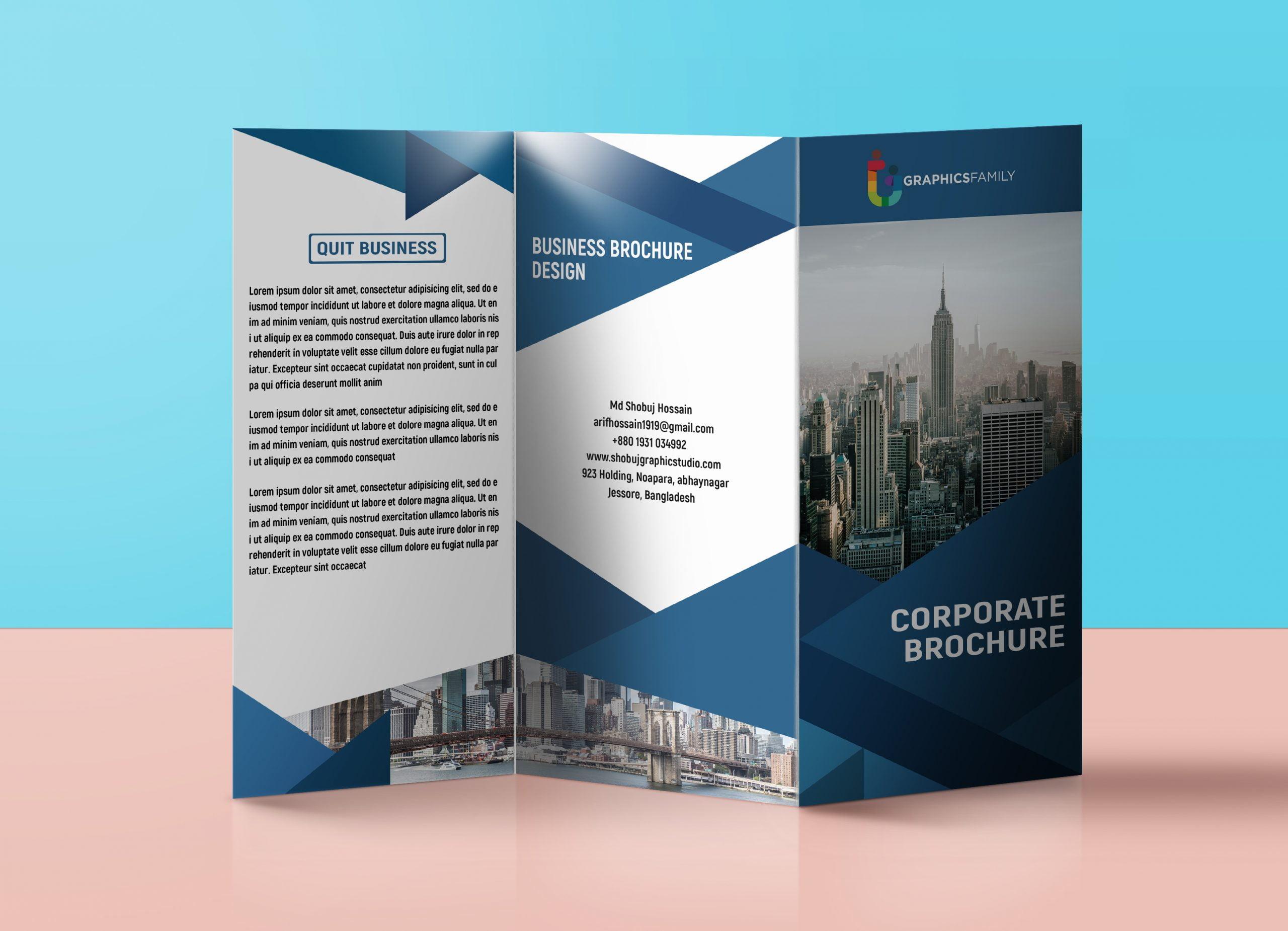Tri-fold brochure design for corporate purpose