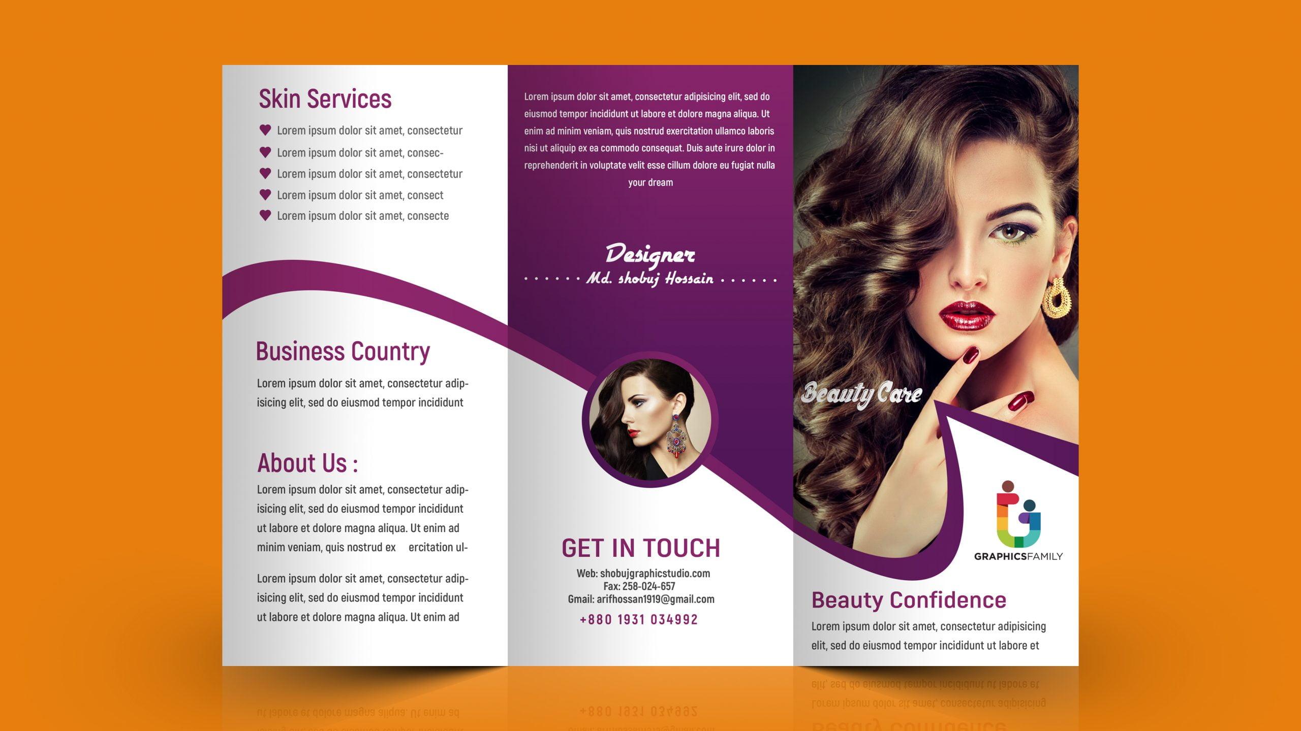 Tri fold brochure for beauty salon