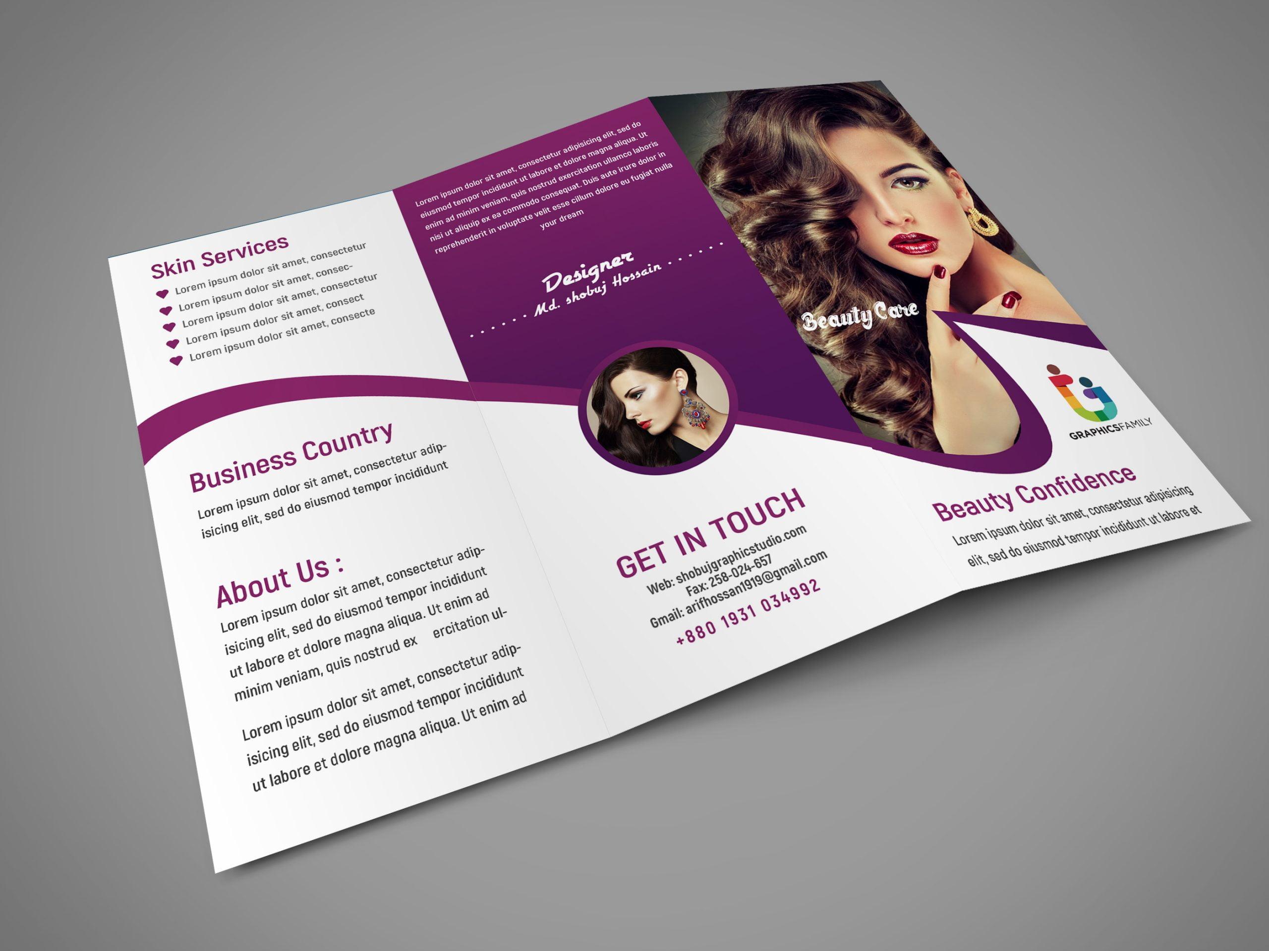beauty salon trifold brochure design
