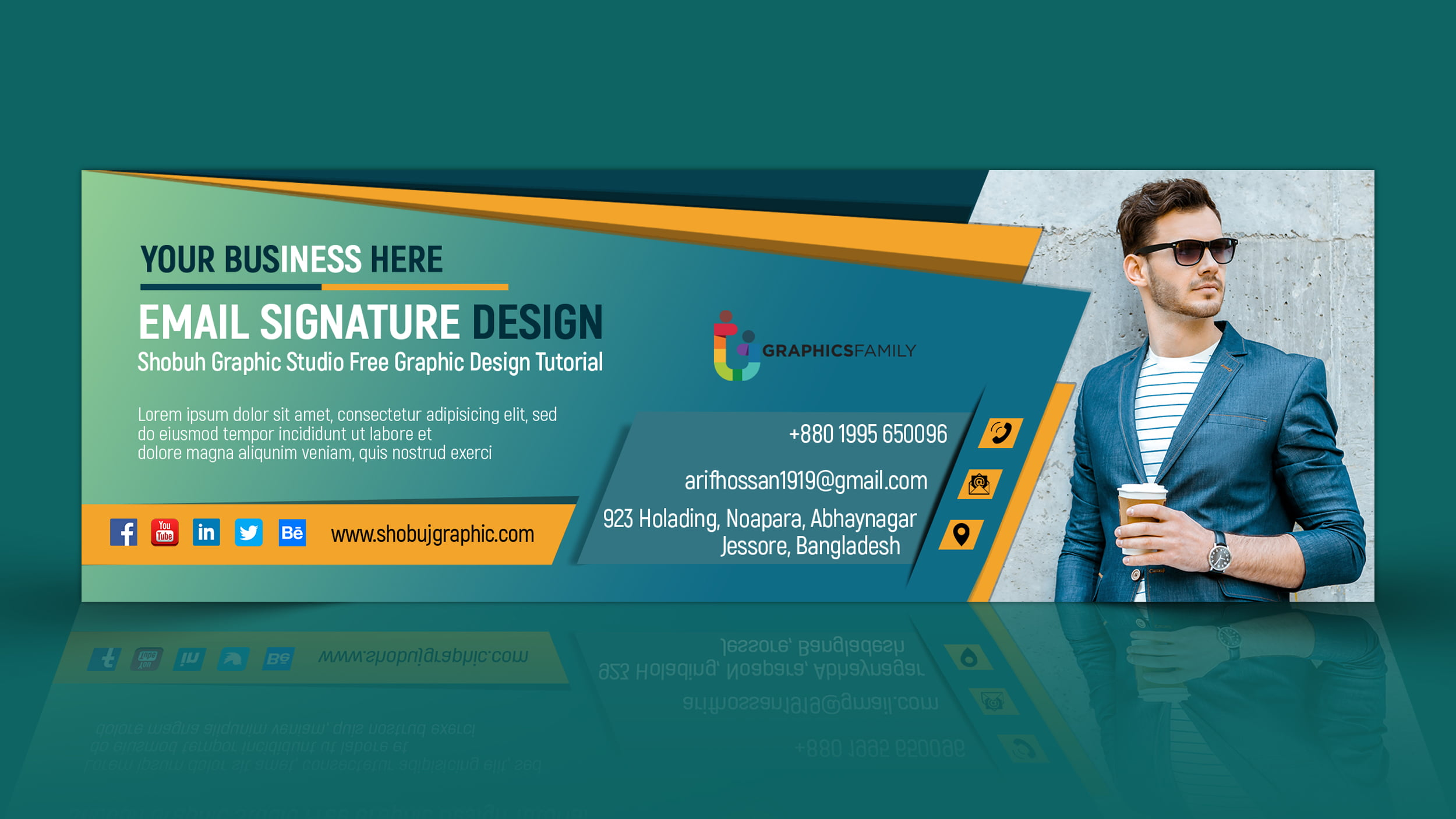email signature design in flat style