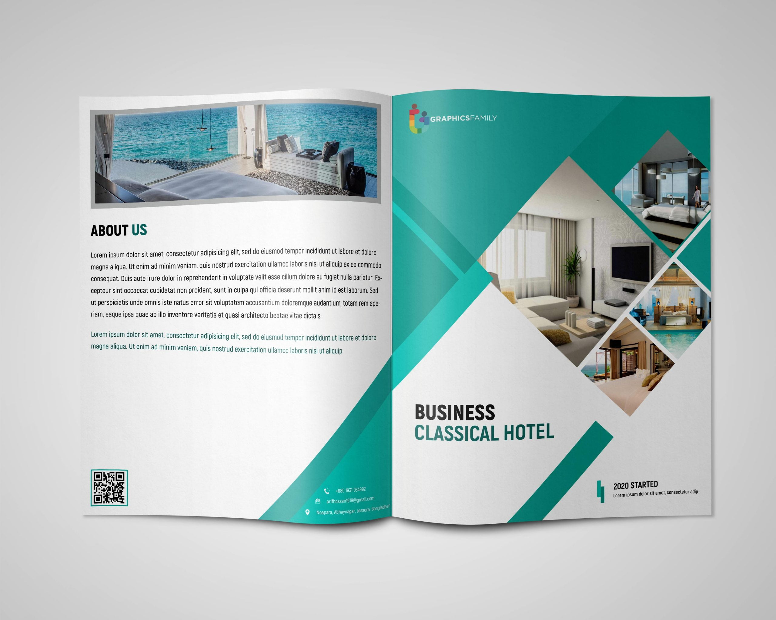 luxury hotel bi fold brochure template