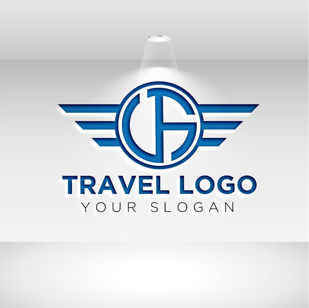 modern travel logo on white wall