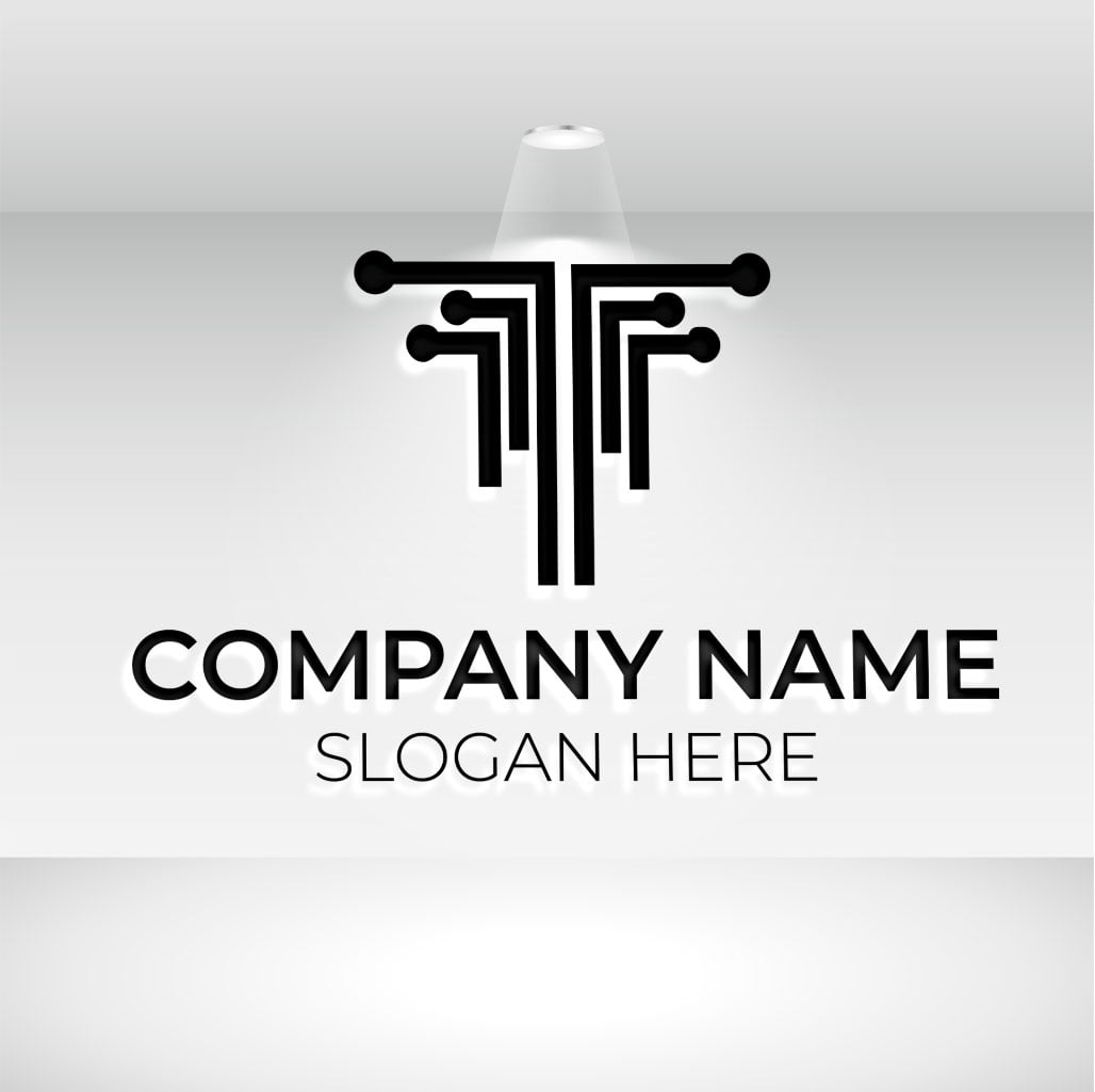 tech logo on white mockup