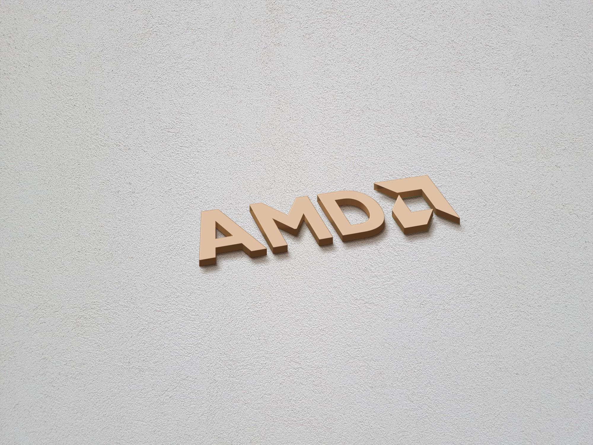 AMD logo on 3d gold mockup