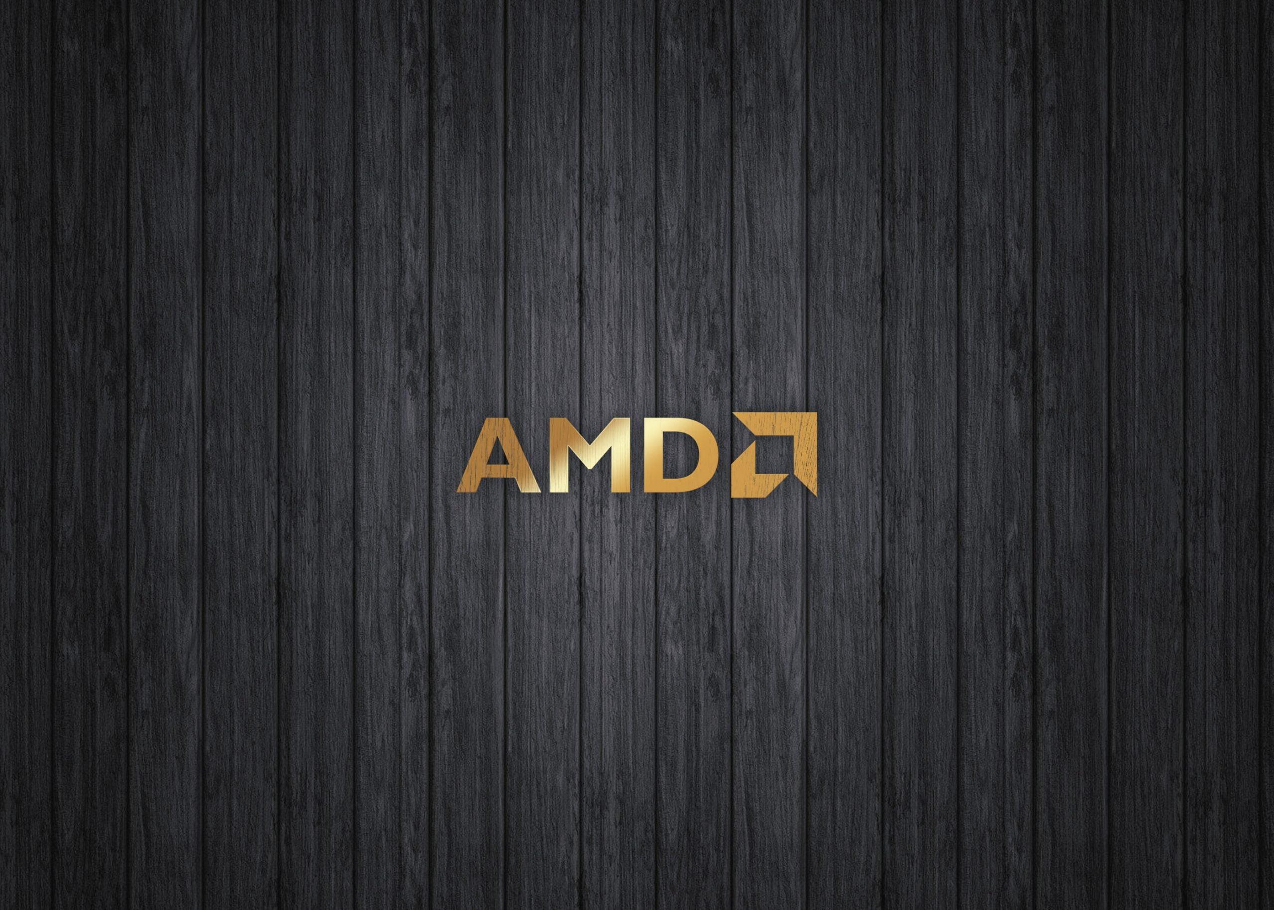 AMD on luxury gold mockup