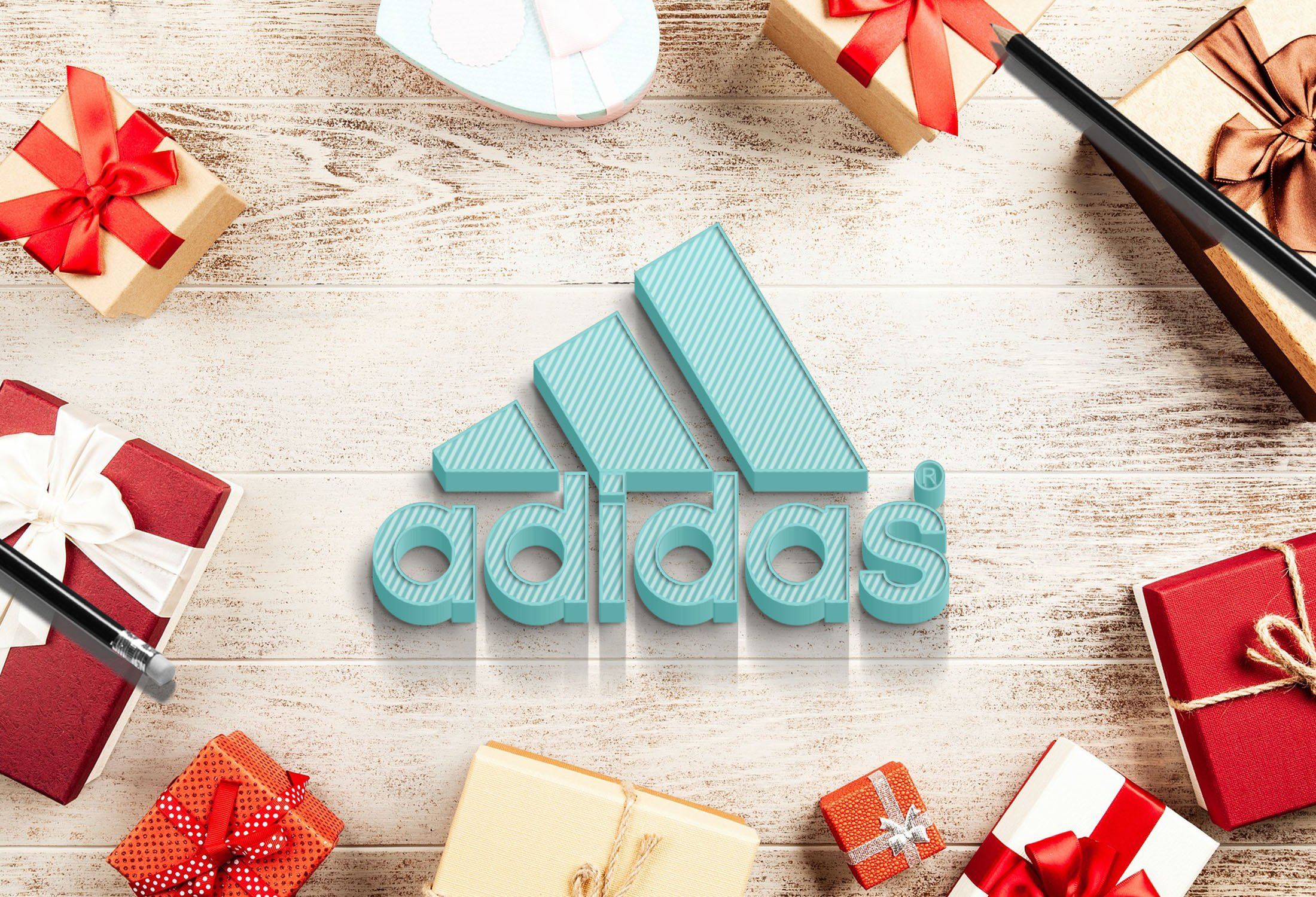 Adidas Logo on colorful wood mockkup