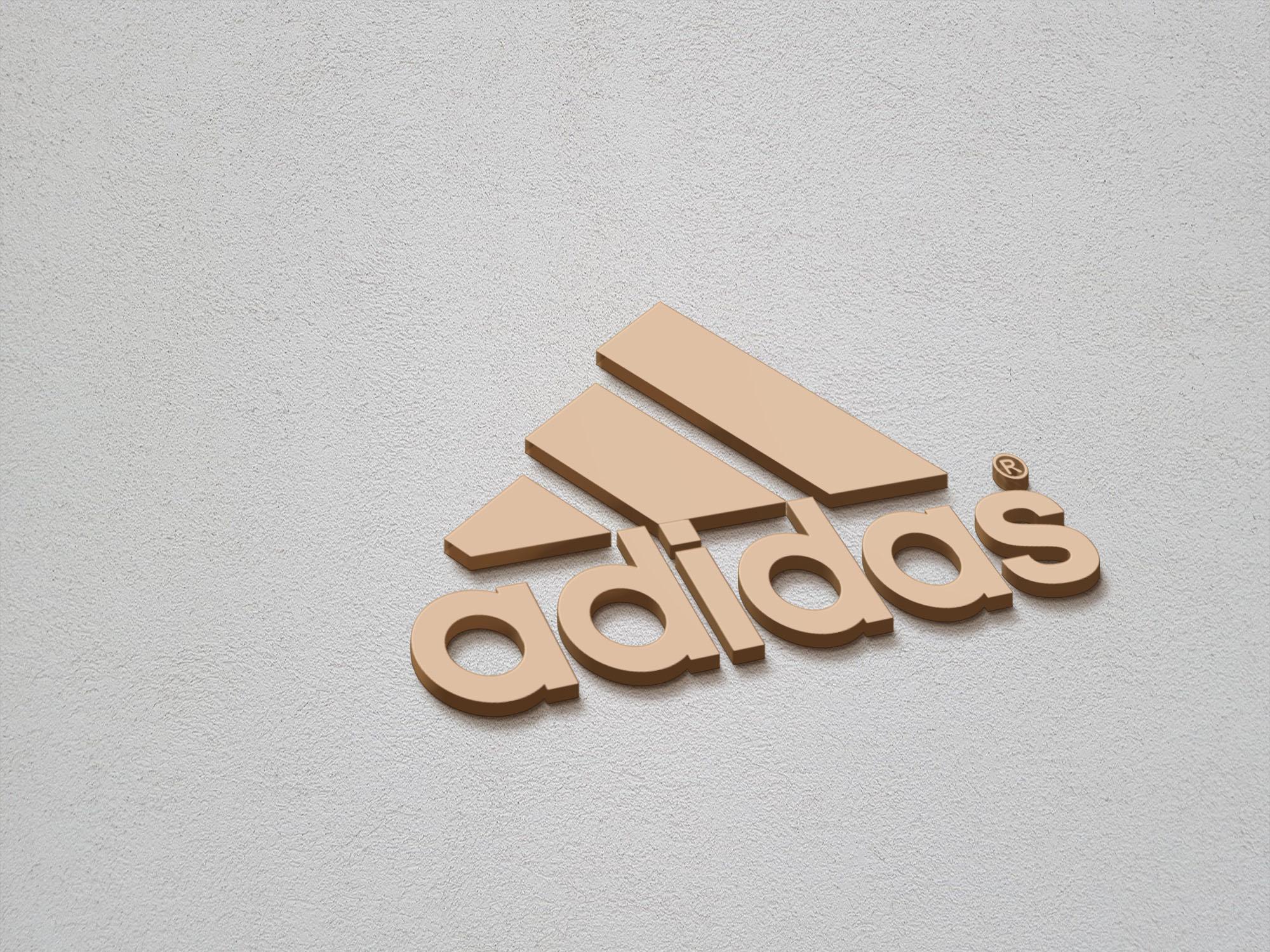 Adidas logo on 3d gold mockup