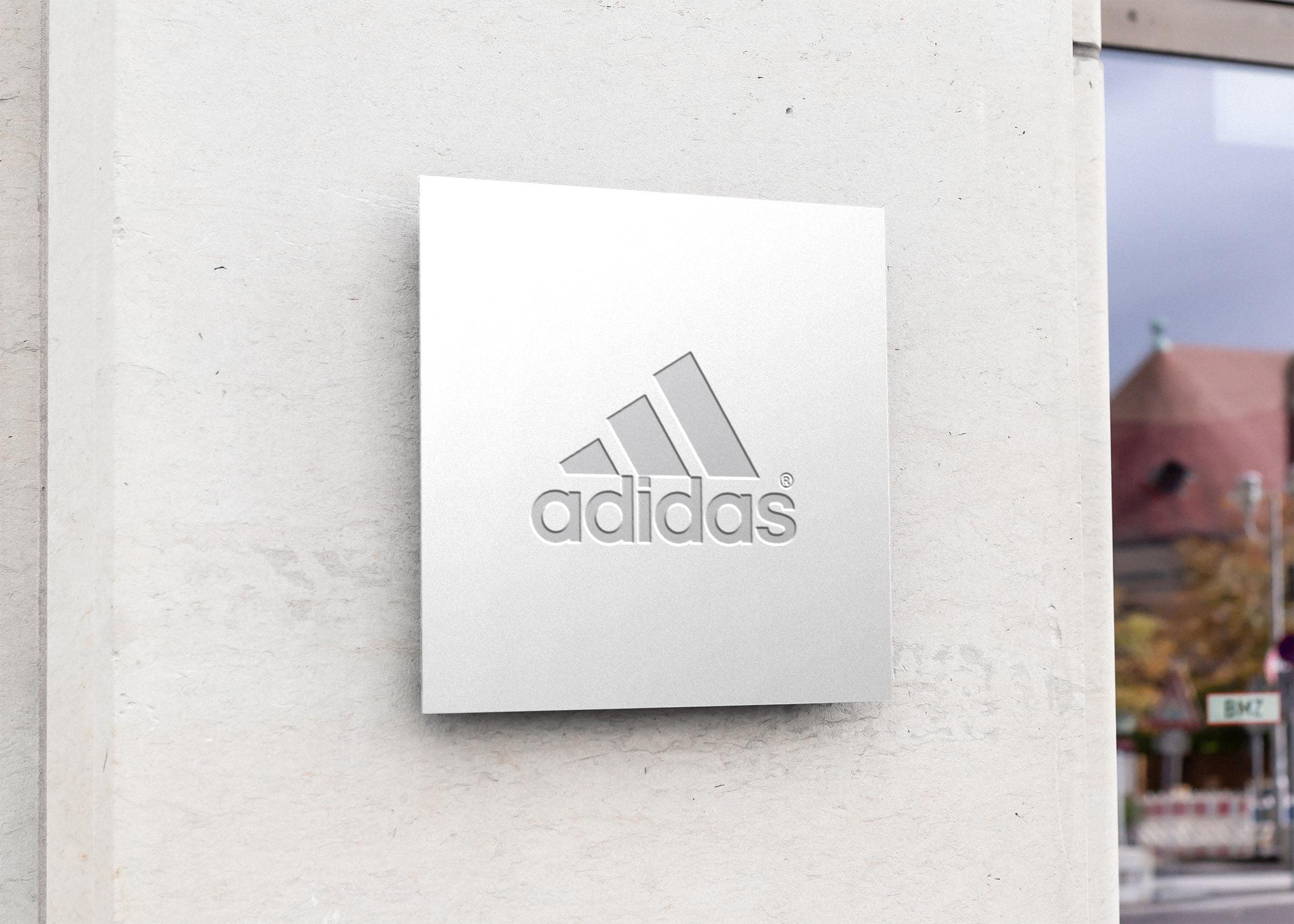 Adidas on Free Square Sign Board Mockup