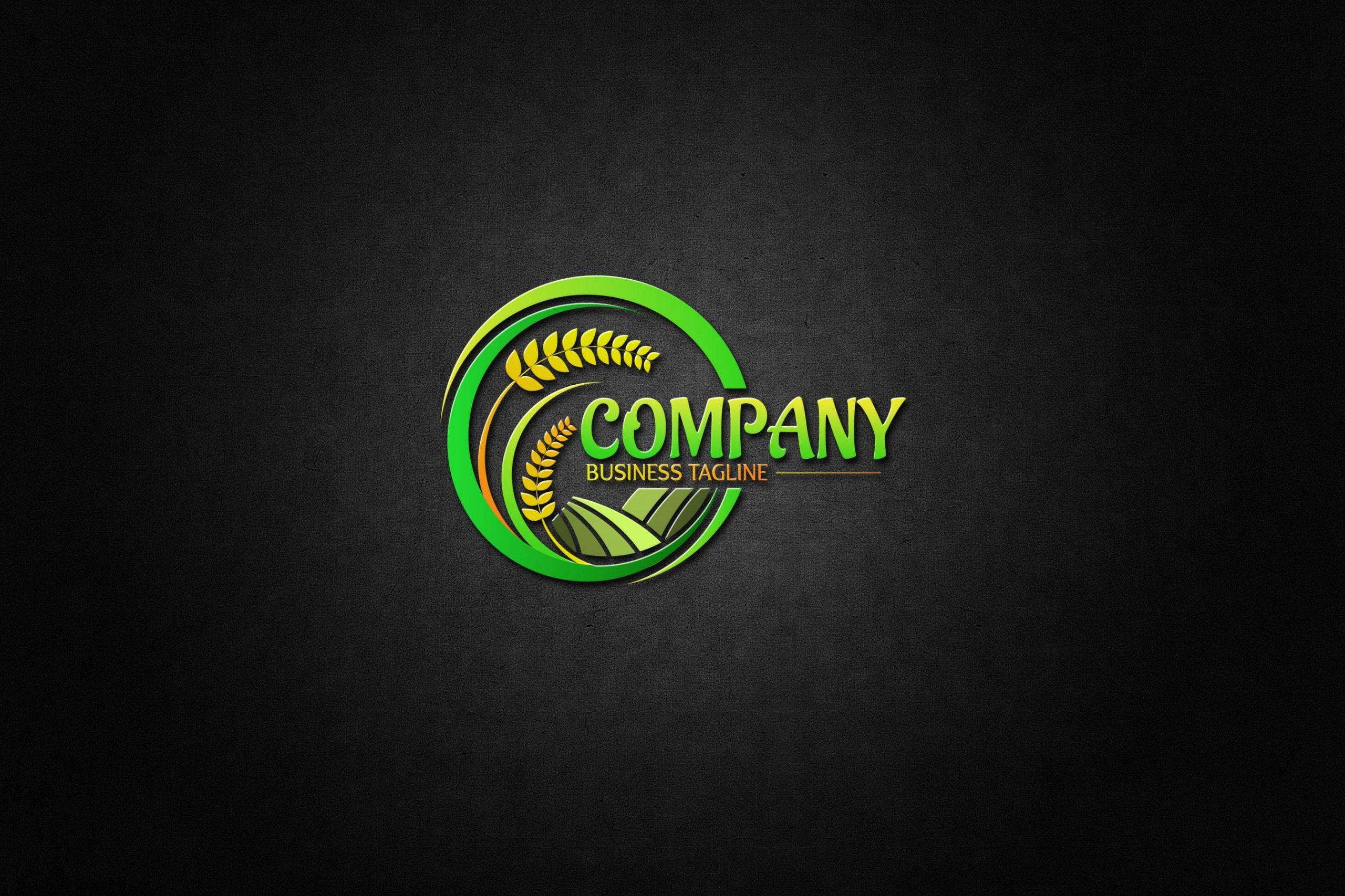 Agriculture Logo on 3d black mockup